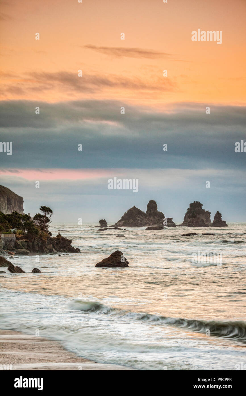 Motukiekie, on the West Coast of the South Island, New Zealand - Stock Image