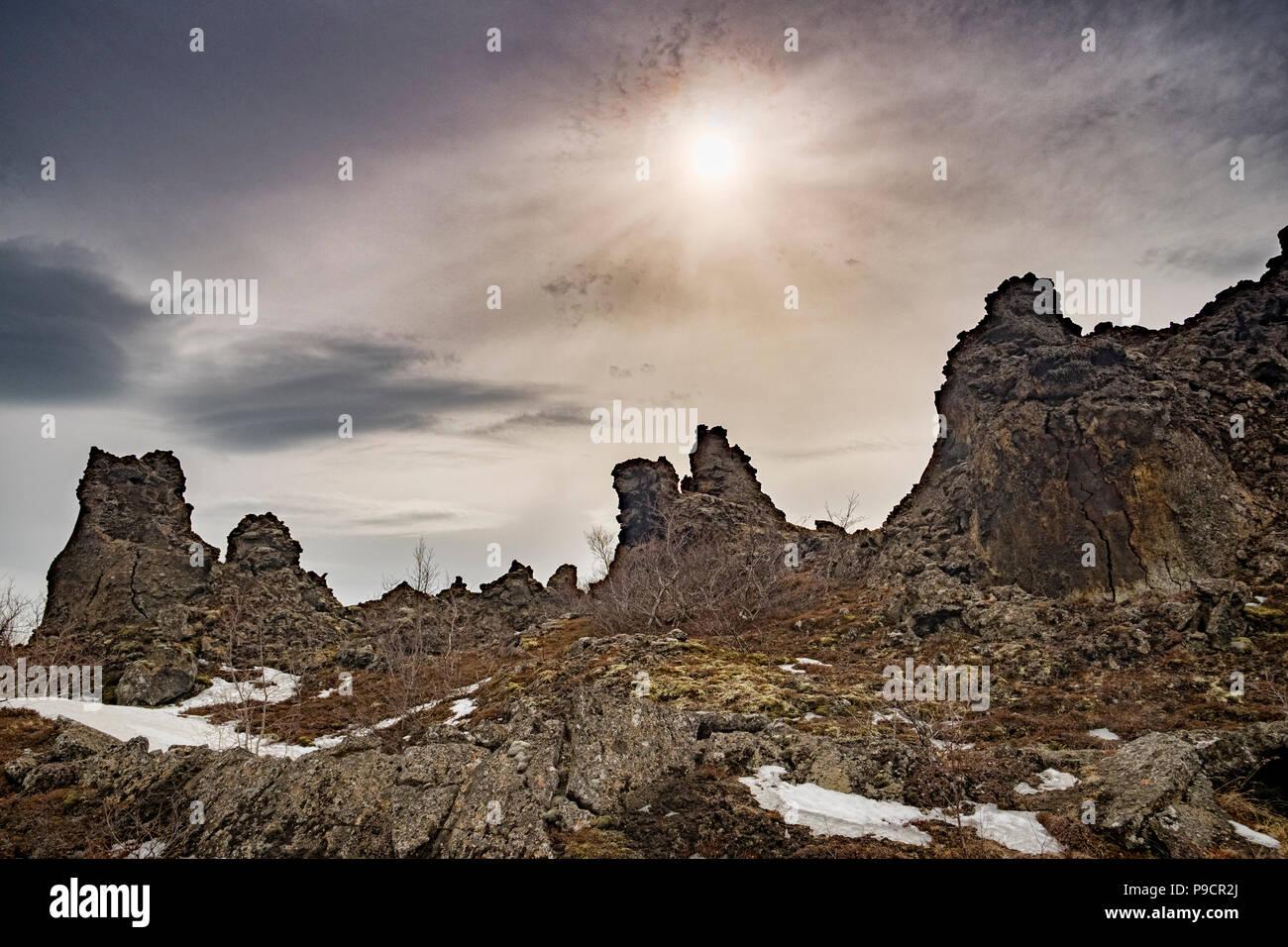 Lava outcrops at Dimmuborgir, near Lake Myvatn in northern Iceland. - Stock Image