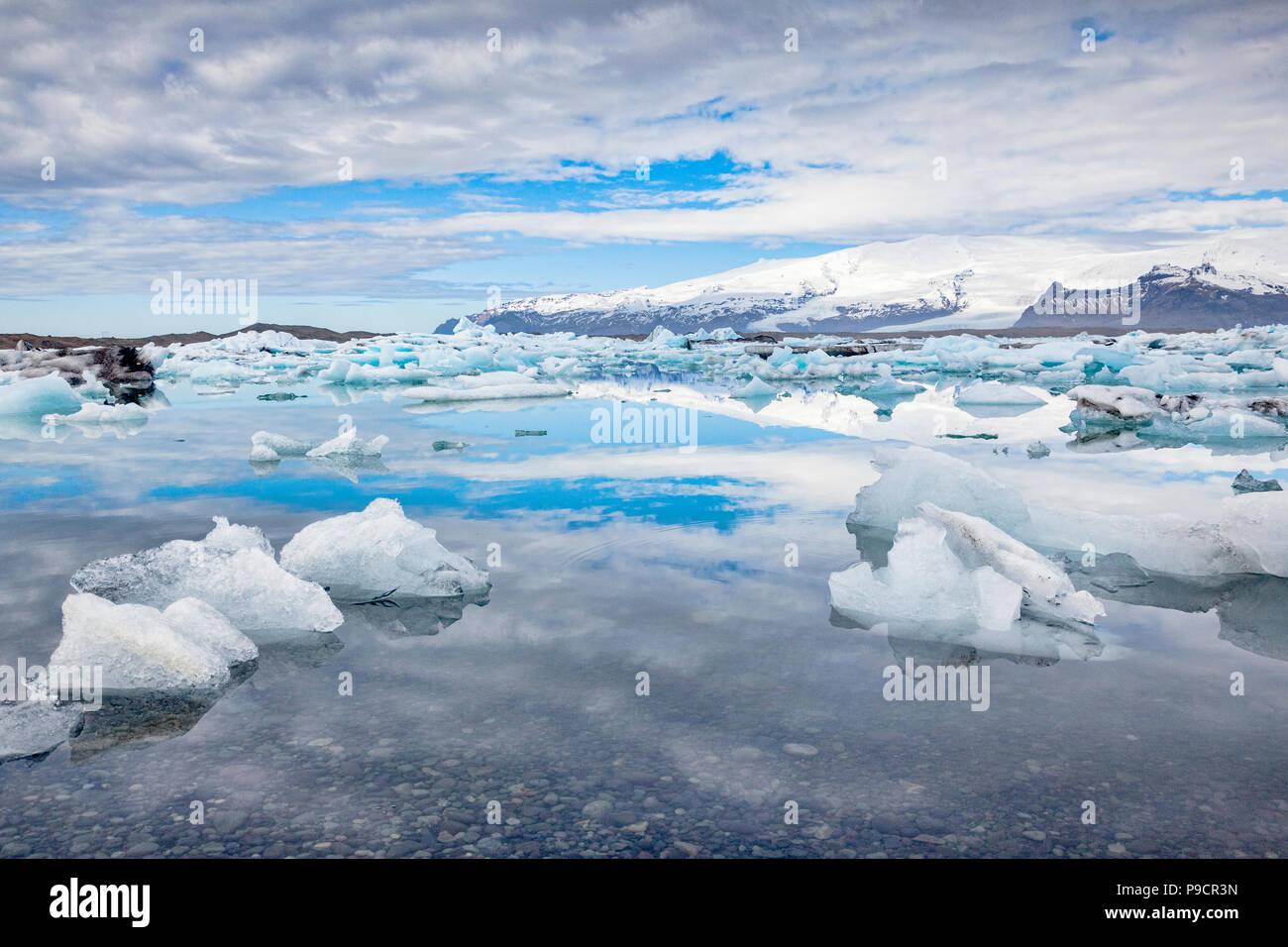 Jokulsarlon glacial river lagoon, South Iceland - Stock Image
