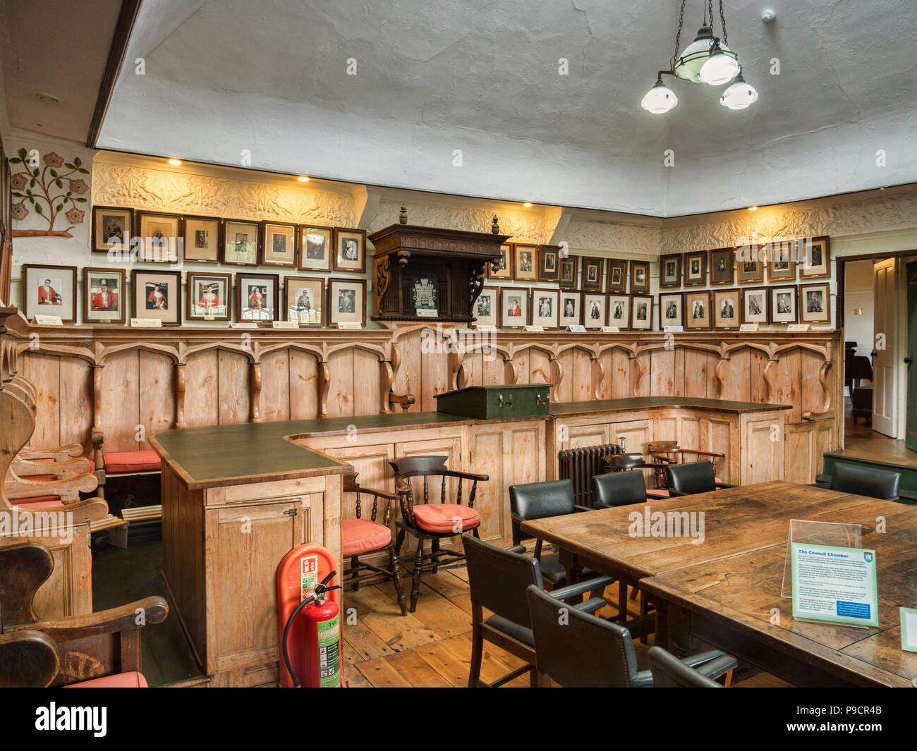 25 May 2018: Totnes, Devon, UK - The historic council chamber in the guildhall. - Stock Image
