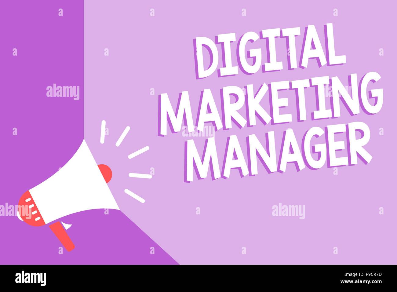Word writing text Digital Marketing Manager. Business concept for optimized for posting in online boards or careers Megaphone loudspeaker purple backg - Stock Image