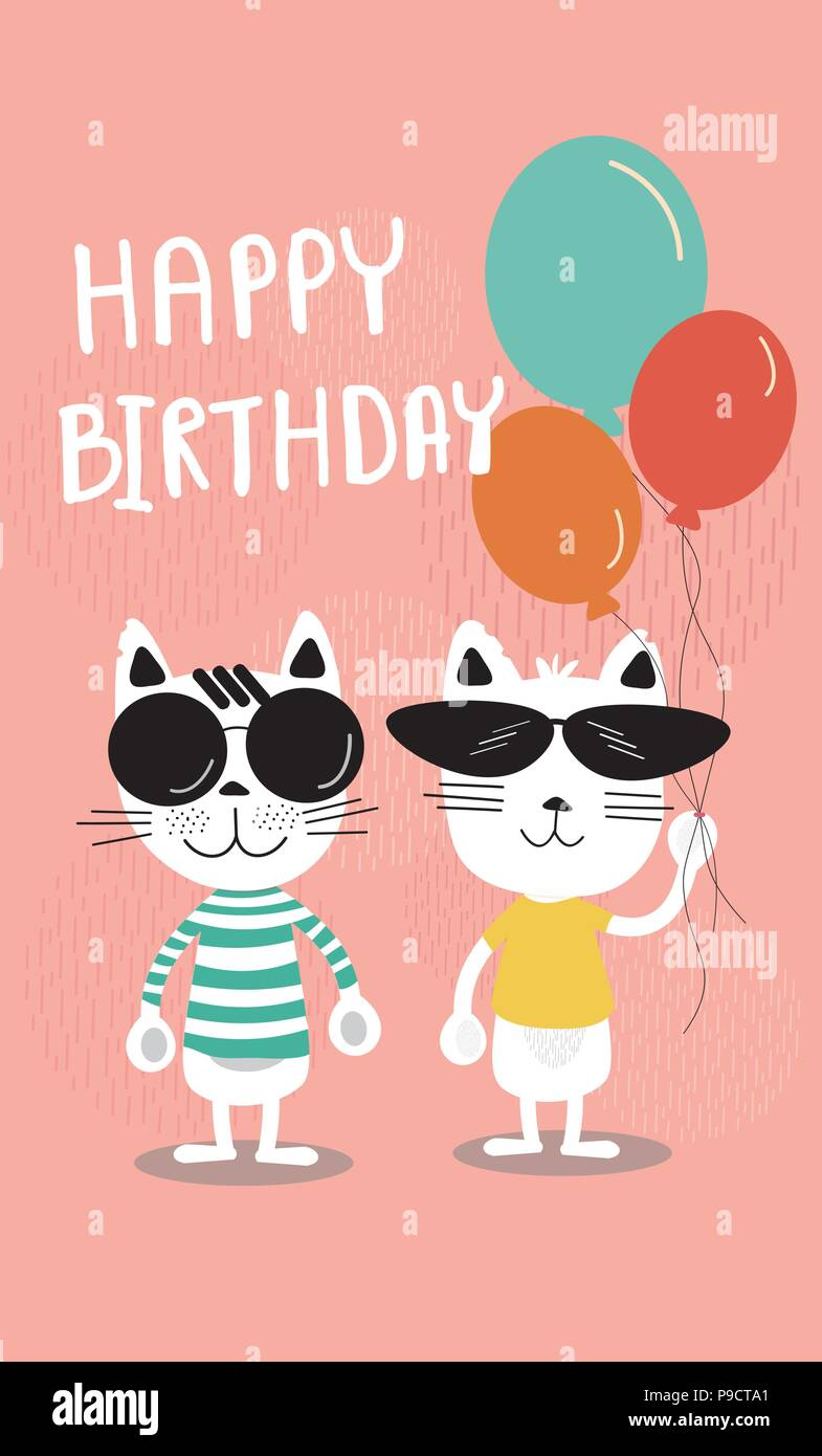 Cute Soft Pastel Colour Cartoon Birthday Card Funny Cats In