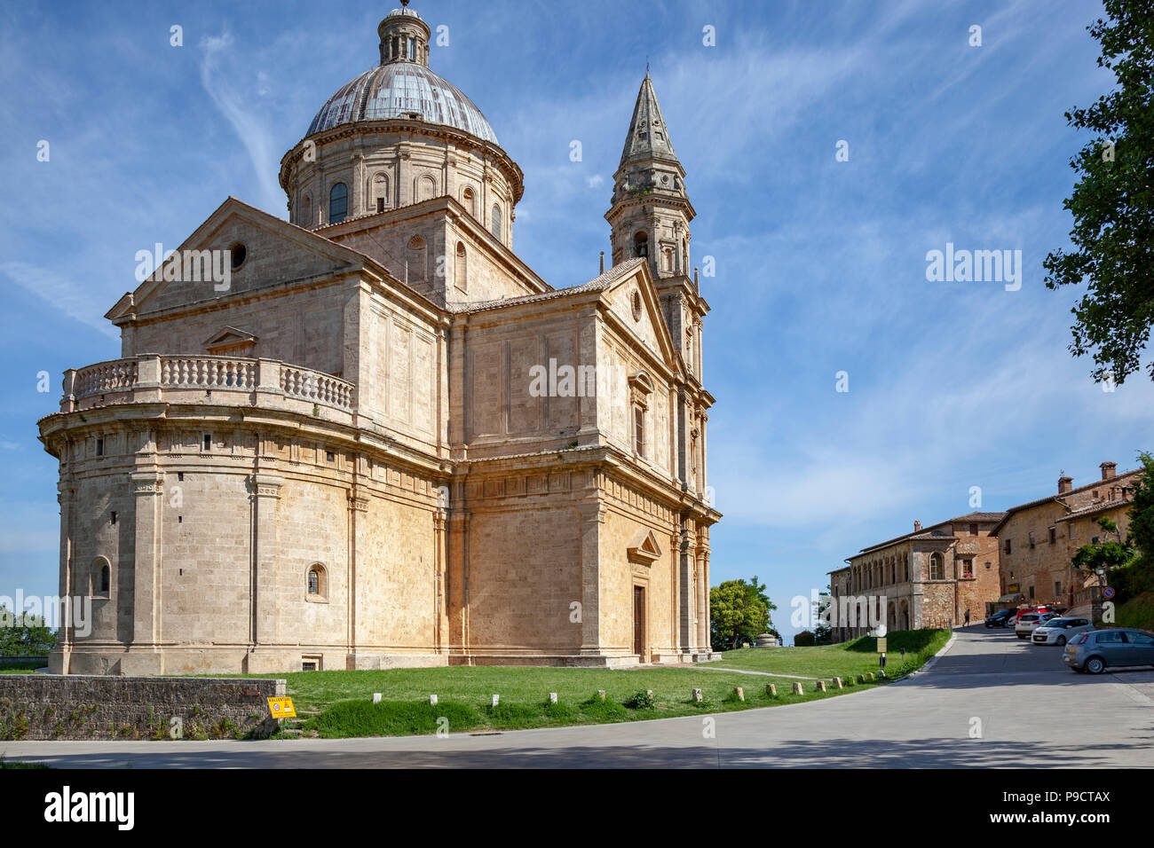 Below Montepulciano, the San Biagio church has been built according a focused Greek cross-shaped plan topped by a dome. - Stock Image