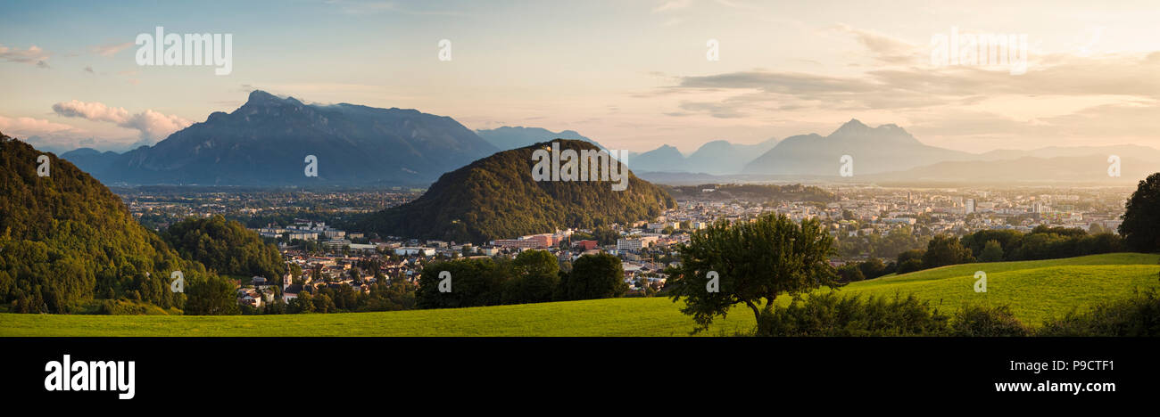 Panoramic view of the cityscape of Salzburg, in the Austrian Alps, Austria, Europe in the late afternoon - Stock Image