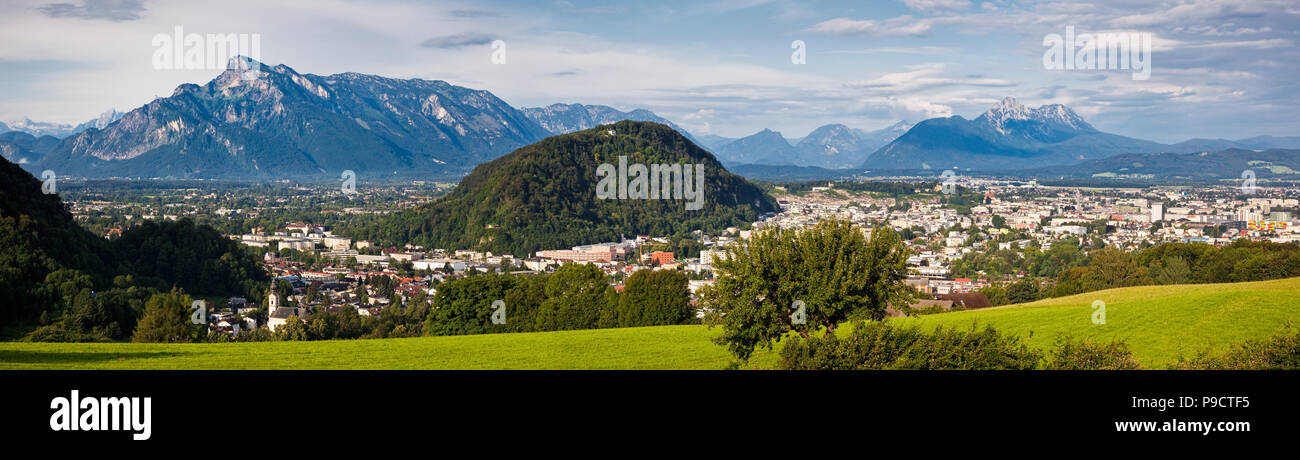 Panoramic daytime view of the cityscape of Salzburg, in the Austrian Alps, Austria, Europe - Stock Image