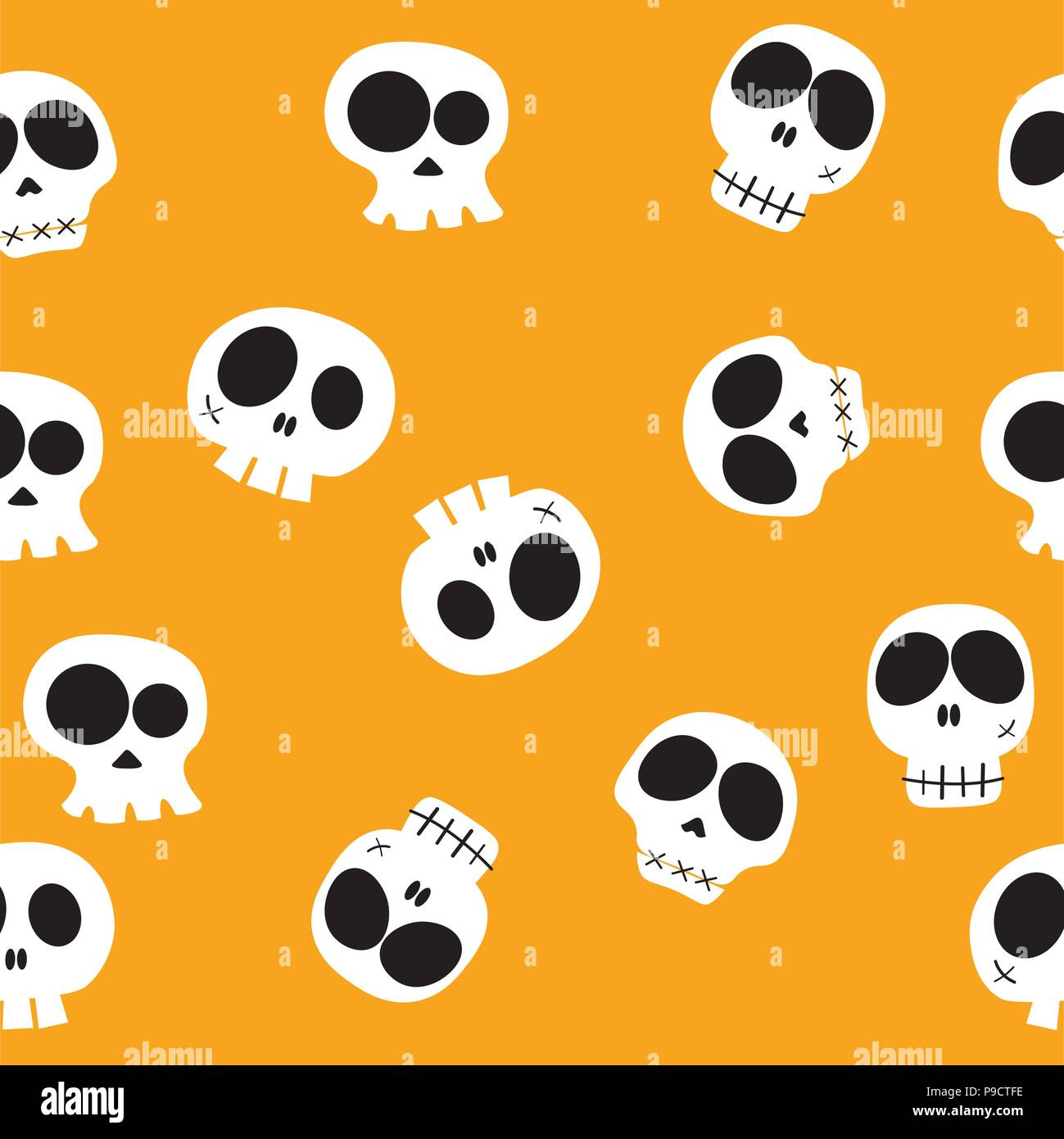 Doodle Vector Funny Cartoon Head Skulls In Different Characters On Yellow Background Pattern Seamless