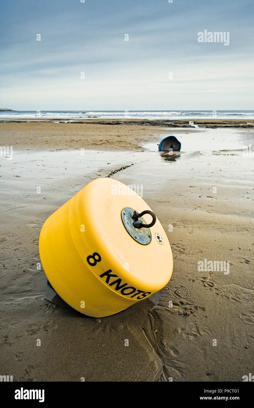 Warning buoy on a wet sandy beach at low tide, England, UK - Stock Image