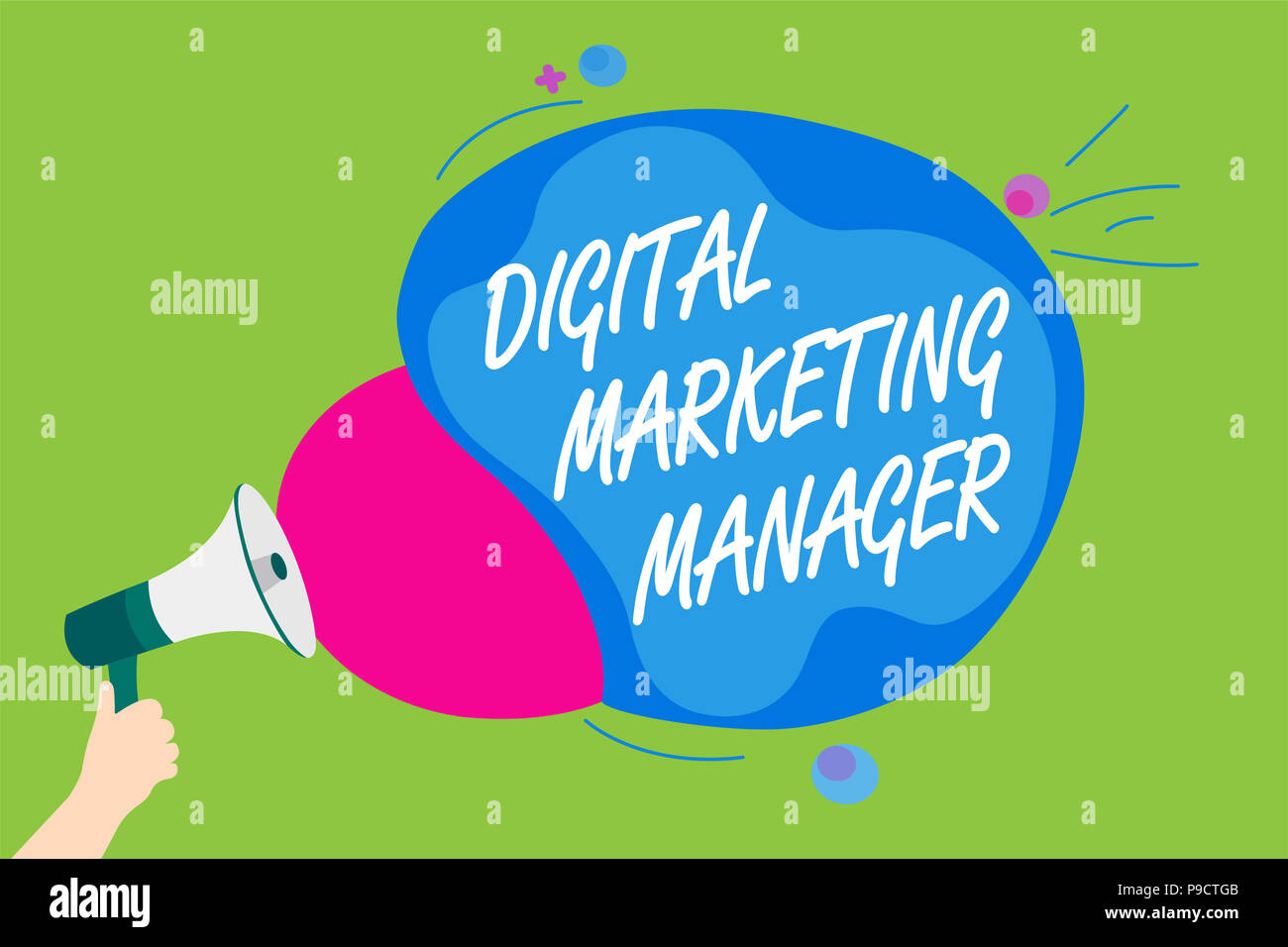 Handwriting text Digital Marketing Manager. Concept meaning optimized for posting in online boards or careers Man holding Megaphone loudspeaker scream - Stock Image