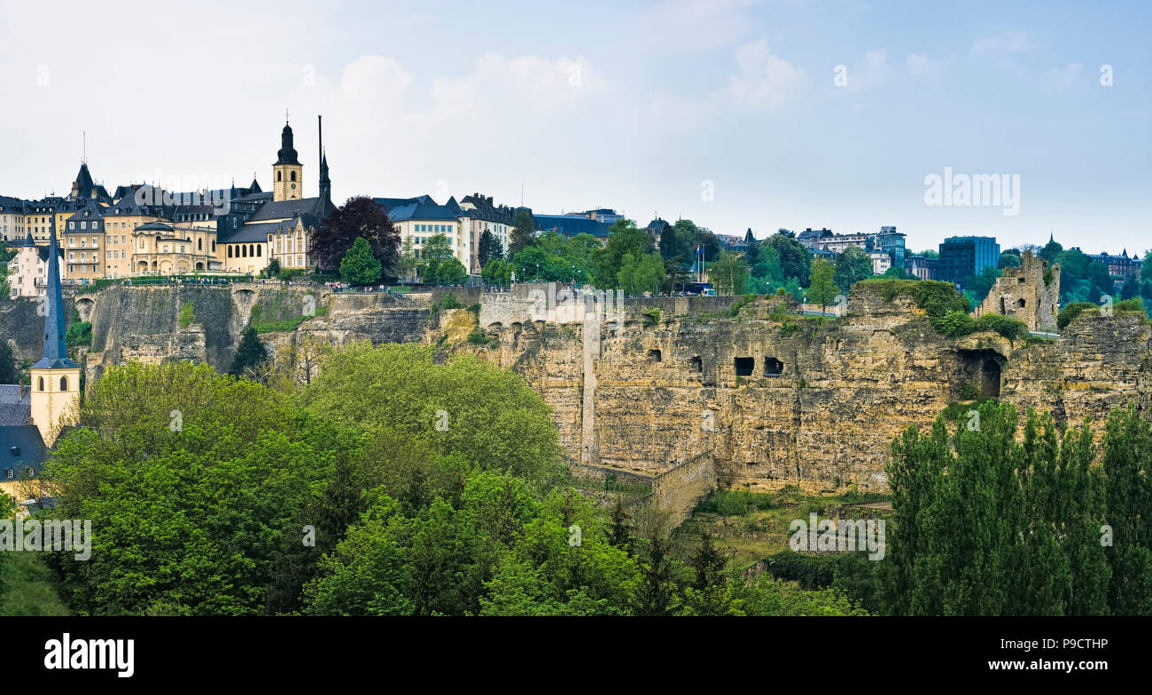 Tourists at the Bock underground casemates fortifications in Luxembourg City, Luxembourg, Europe - Stock Image