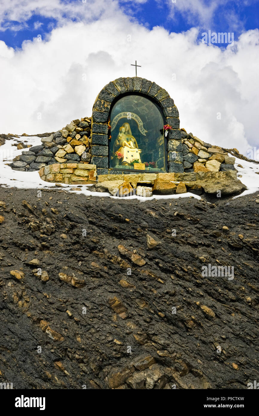 Small mountain top shrine for travellers, Notre Dame du Tres Haute in the French Alps at summit of Col de la Bonette, Alpes Maritimes, France, Europe - Stock Image