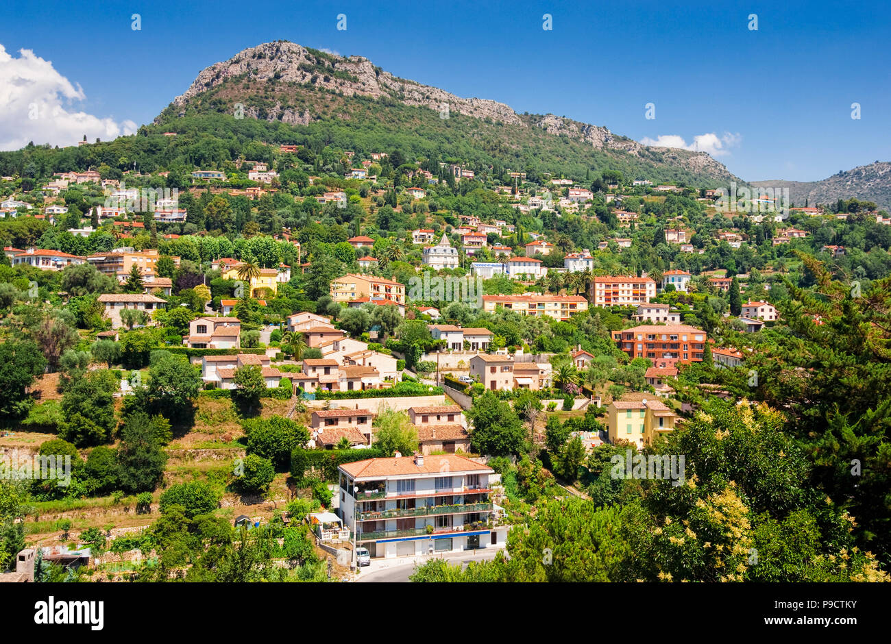 Luxury Houses Villas On The Hillside Overlooking The Old Town Of Vence,  Provence, South Of France, Europe