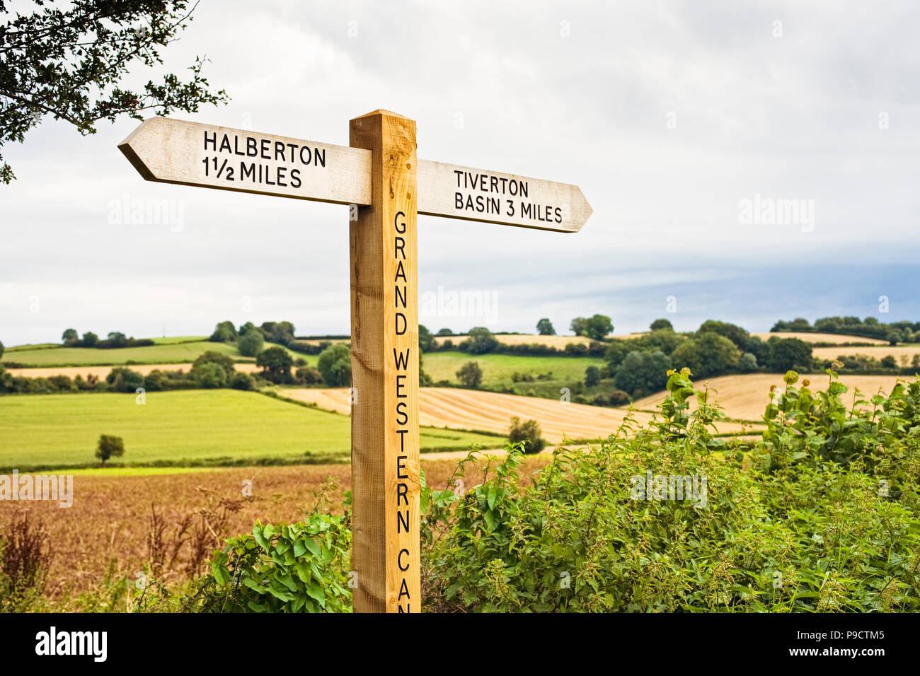 Wooden signpost indicating public footpaths and bridleways along the Grand Western Canal, Devon, England, UK - Stock Image