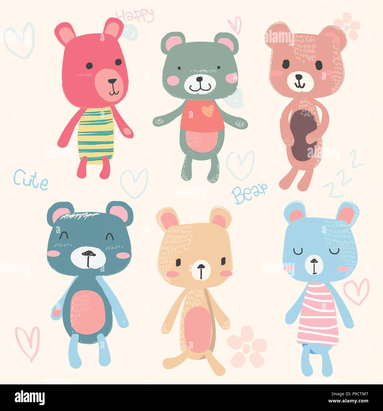 vector set of cute teddy bears cartoon character hand drawing in pastel colour, baby and childish printing Stock Vector