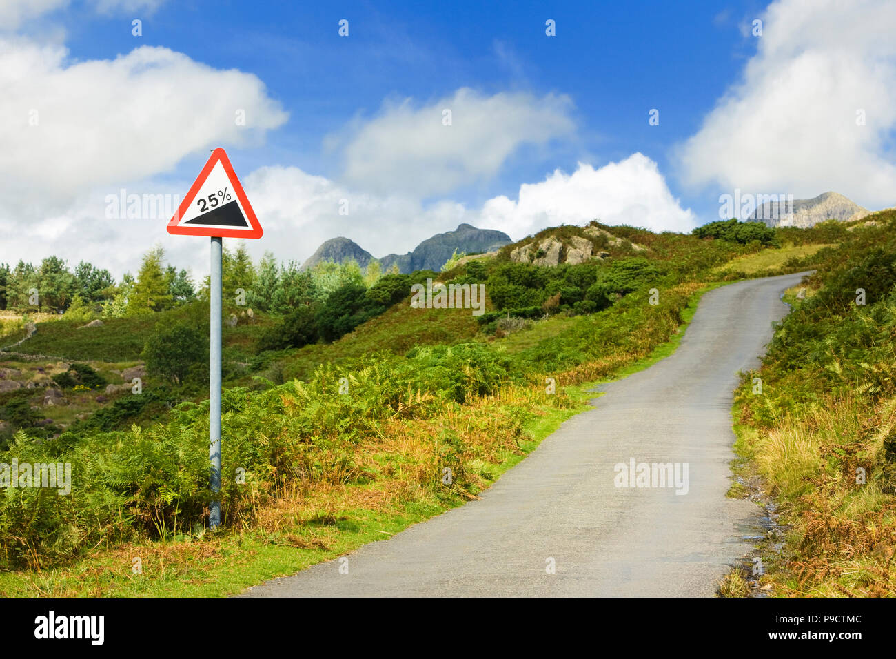 Road sign and small hillside country road in countryside with warning of 25 percent gradient ahead, Cumbria, England UK - Stock Image