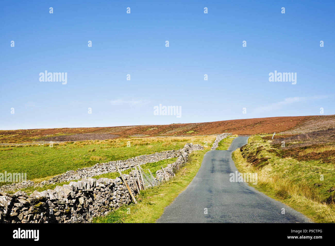 Small tarmac country road in the Yorkshire Dales National Park, England, UK - Stock Image
