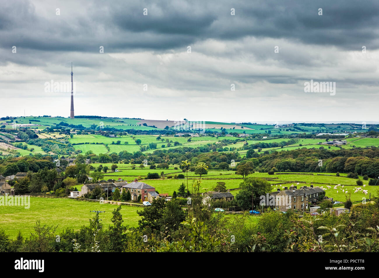 Emley Moor Tv Transmitter, and West Yorkshire landscape, England, UK - Stock Image