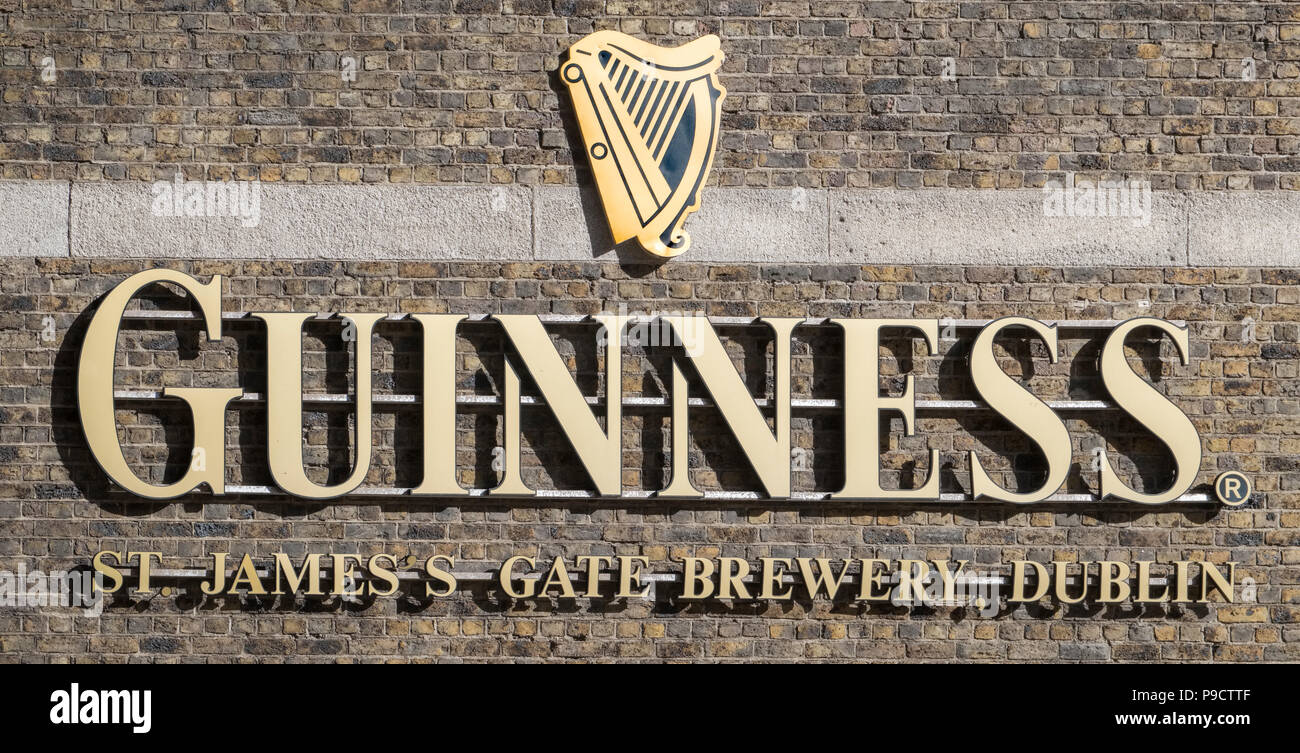 Guinness logo sign at the Guinness brewery, Dublin, Ireland, Europe - Stock Image