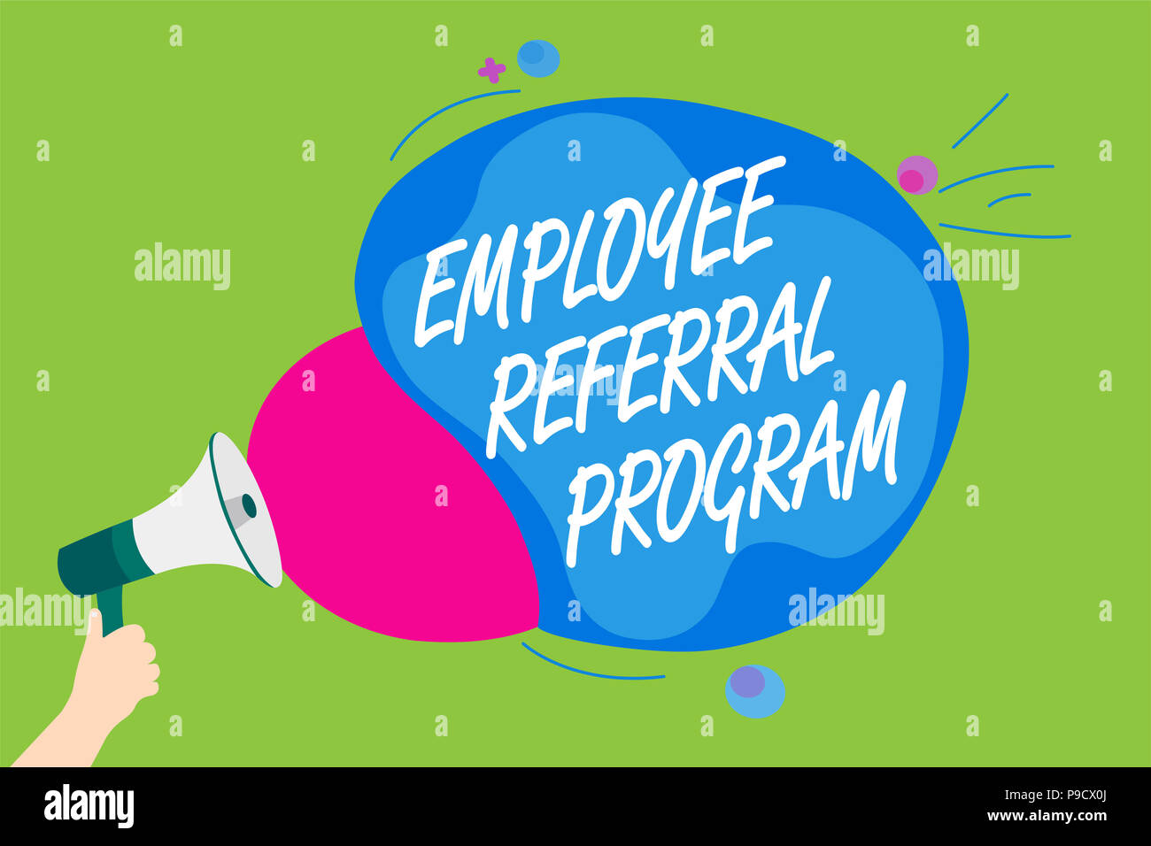 Handwriting text Employee Referral Program. Concept meaning employees recommend qualified friends relatives Man holding Megaphone loudspeaker screamin - Stock Image