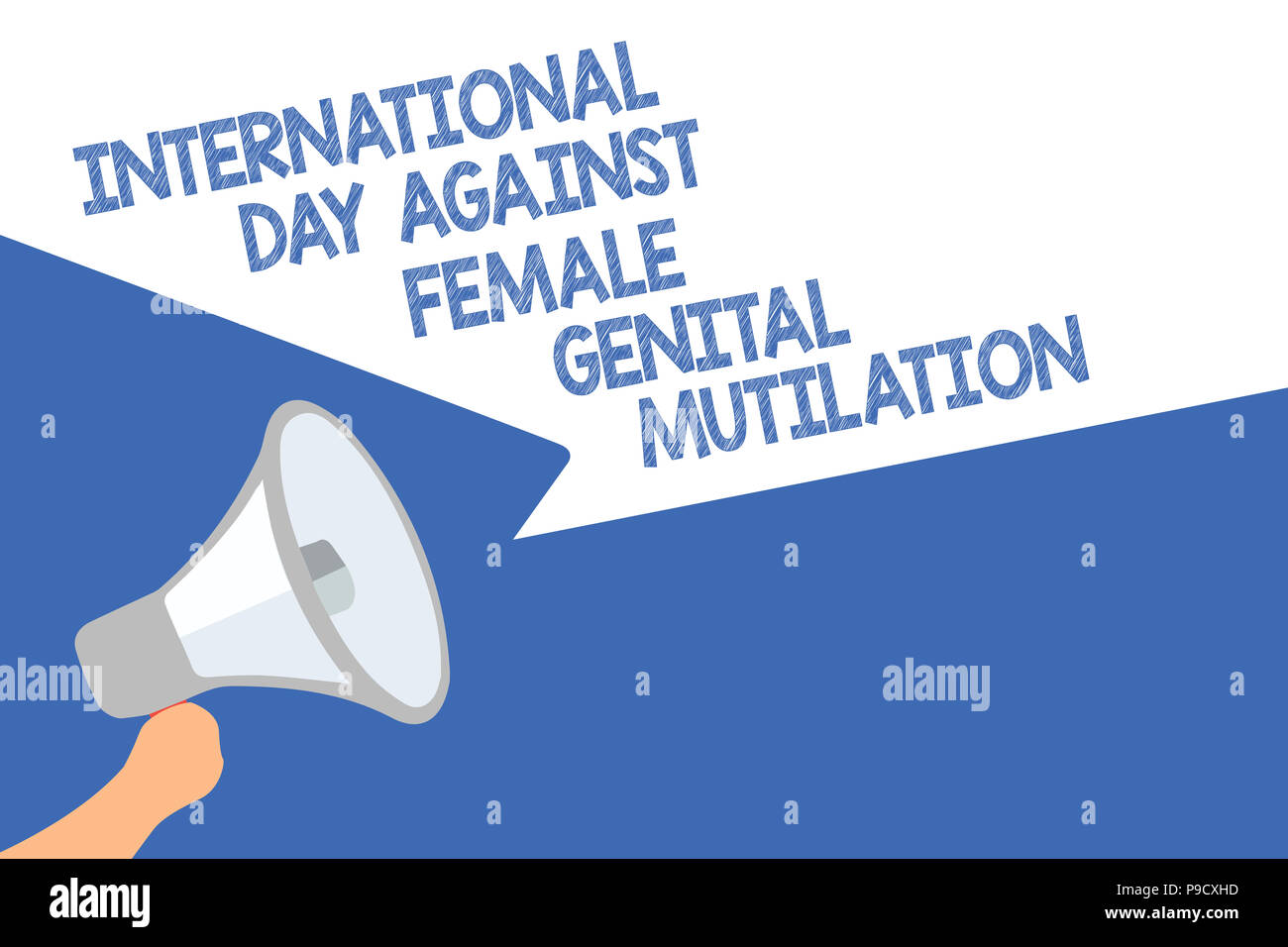 Handwriting text International Day Against Female Genital Mutilation. Concept meaning awareness day February Megaphone loudspeaker speech bubbles impo - Stock Image
