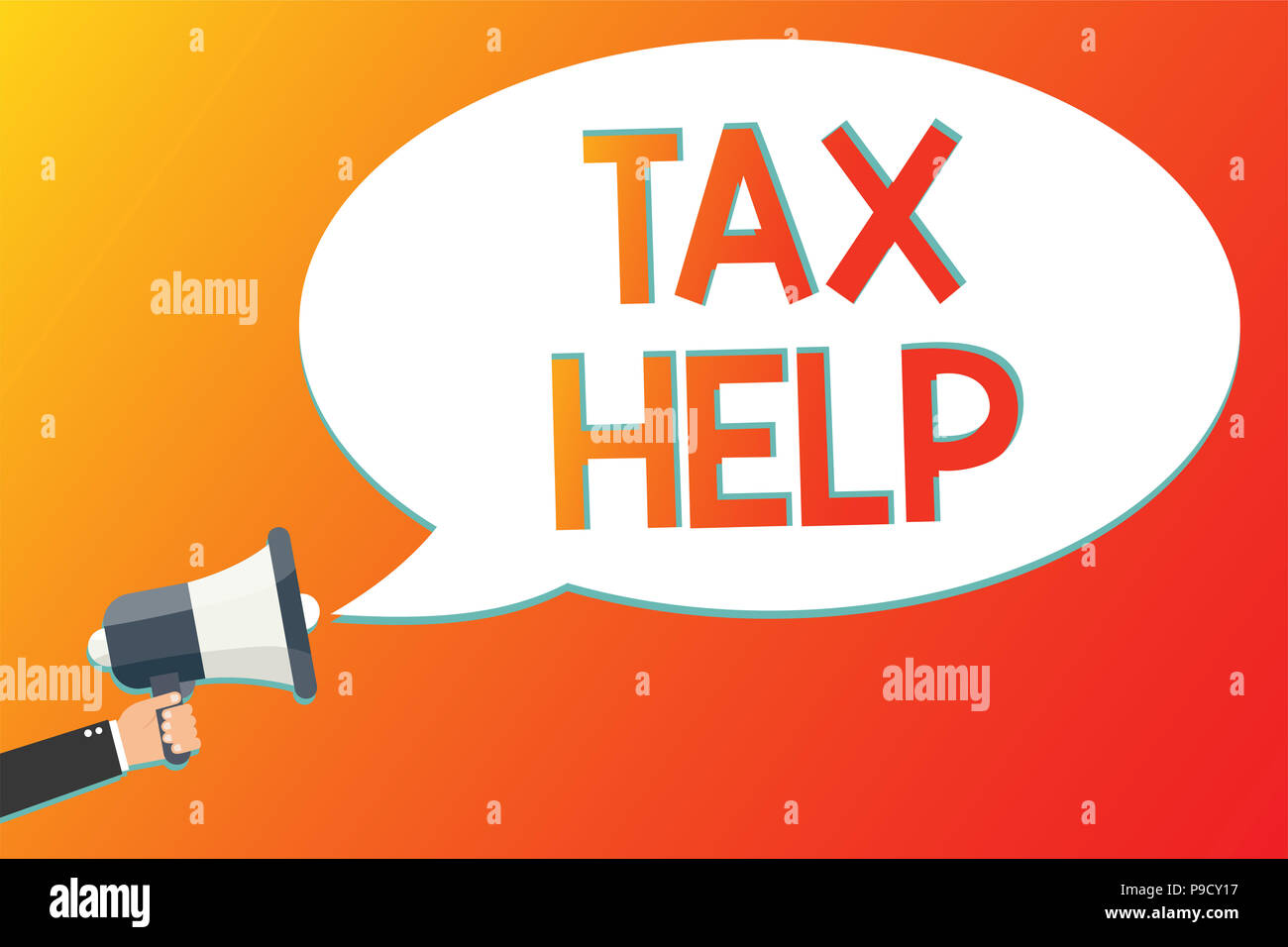 Writing note showing Tax Help. Business photo showcasing Assistance from the compulsory contribution to the state revenue Megaphone loudspeaker scream - Stock Image