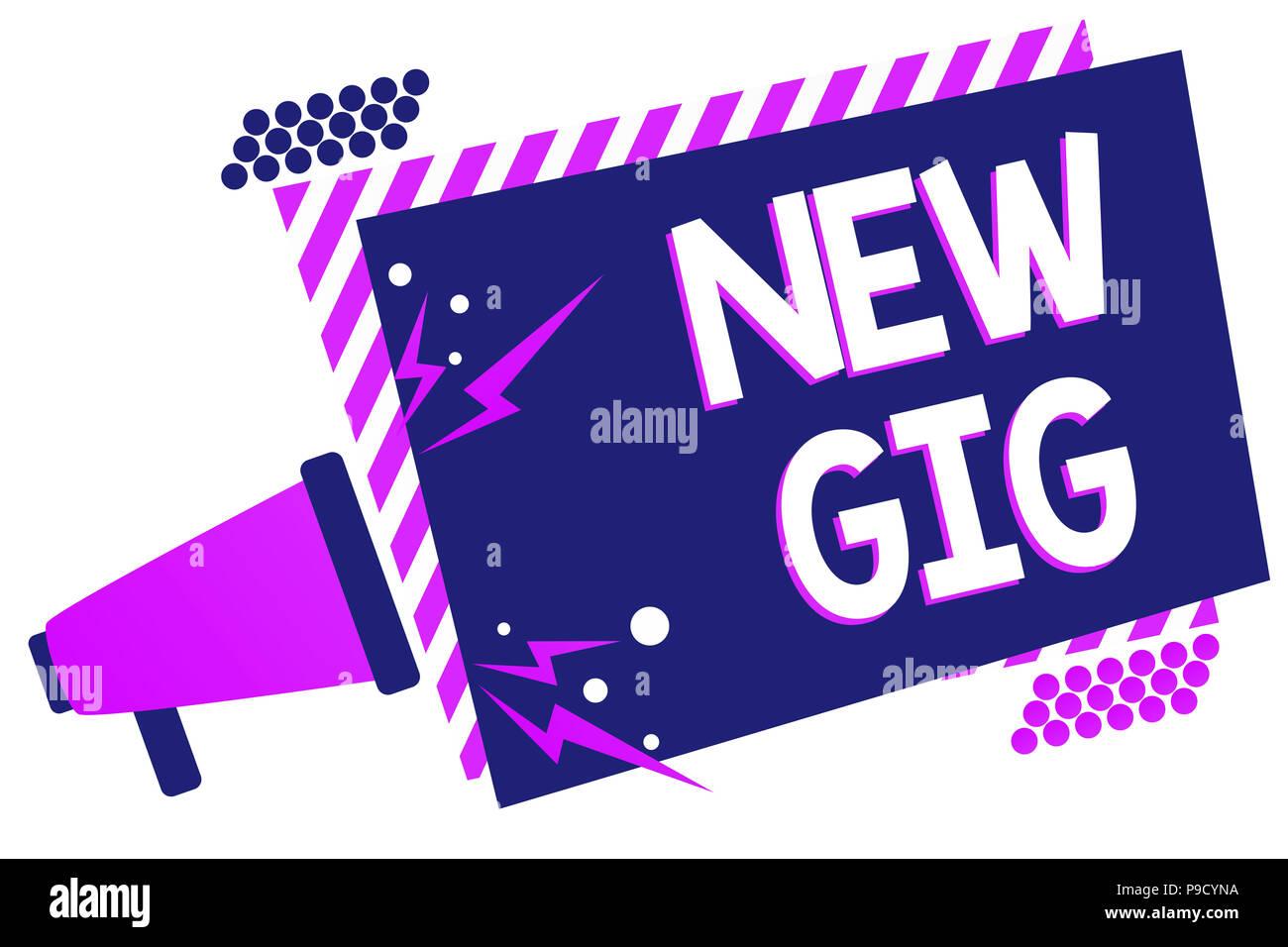 Text sign showing New Gig. Conceptual photo getting job Attending live Concert Gigabyte Freelancer offer Megaphone loudspeaker purple striped frame im - Stock Image