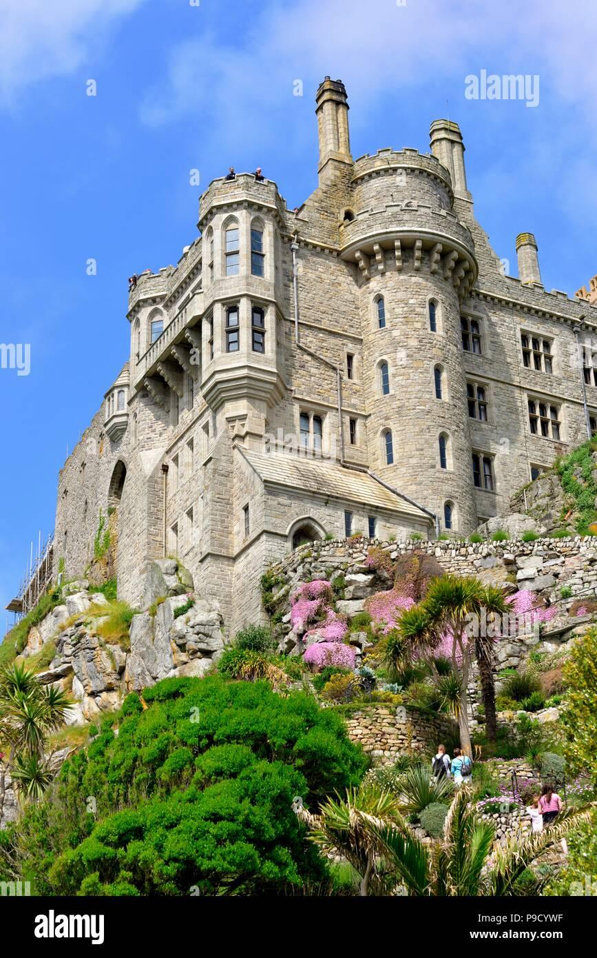 St michael's mount castle and gardens,Karrek Loos yn Koos,Marazion,Cornwall,England,uk Stock Photo