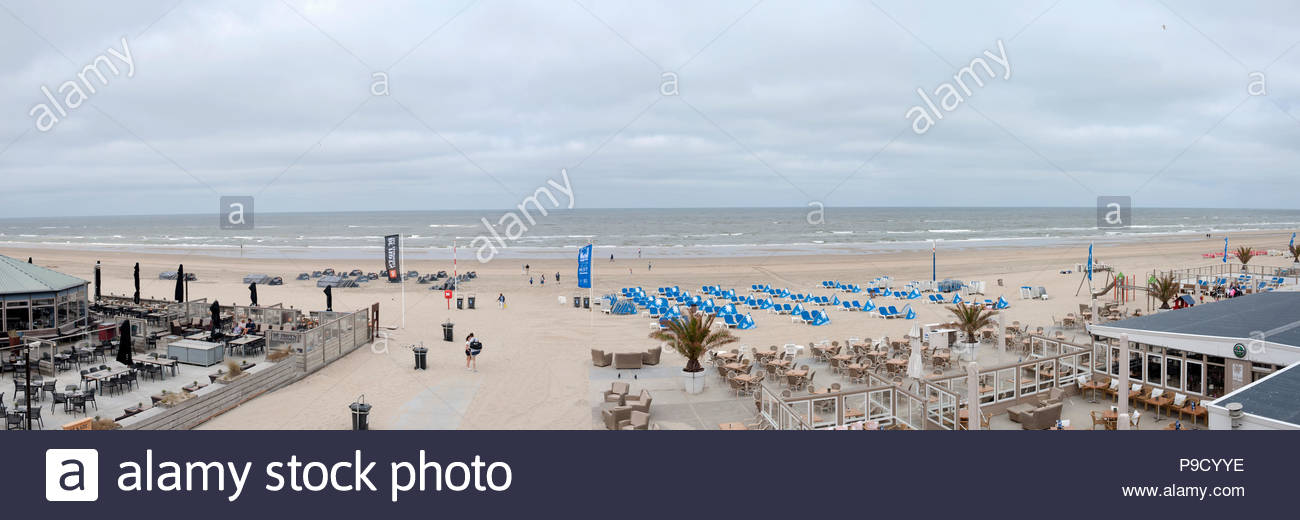 Zandvoort The Netherlands Panorama view over the beach and North Sea on a cloudy day. - Stock Image