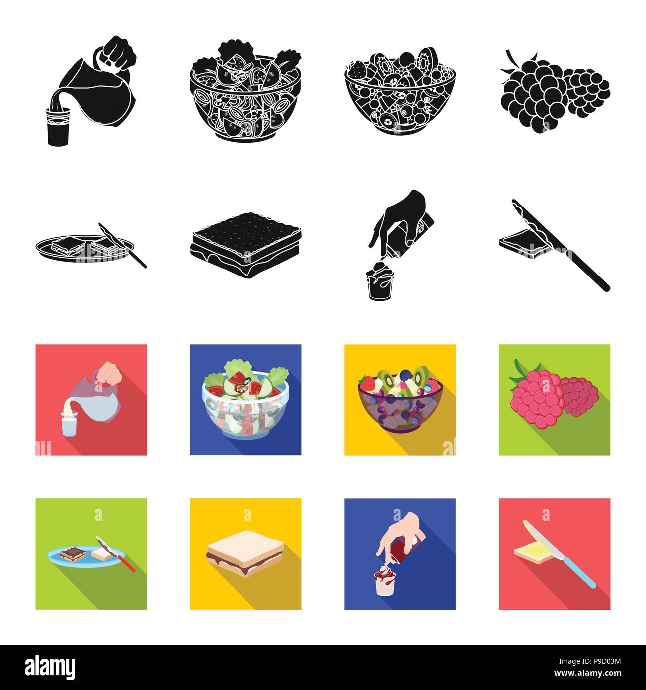 Dessert with cream, a sandwich and other food. Food set collection icons in black,flet style vector symbol stock illustration . - Stock Vector