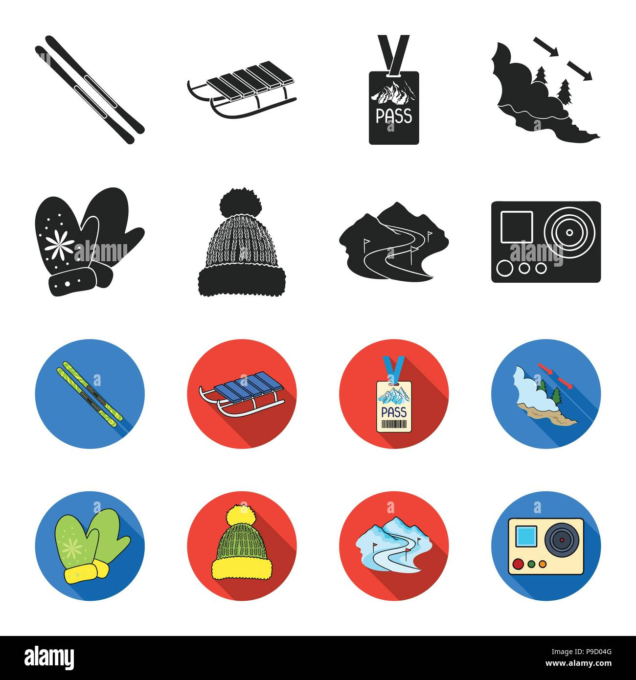Mittens, warm hat, ski piste, motion camera. Ski resort set collection icons in black,flet style vector symbol stock illustration . - Stock Image