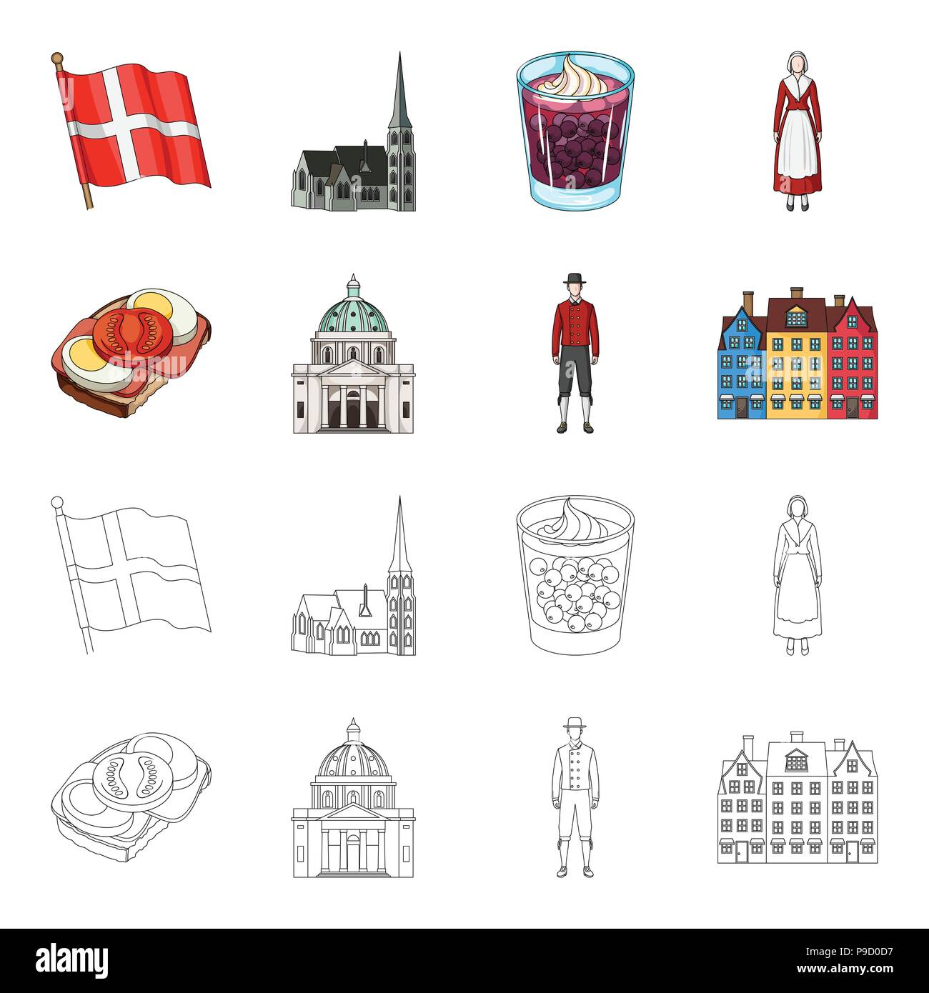 Denmark, history, restaurant, and other  icon in cartoon,outline style.Sandwich, food, bread icons in set collection Stock Vector