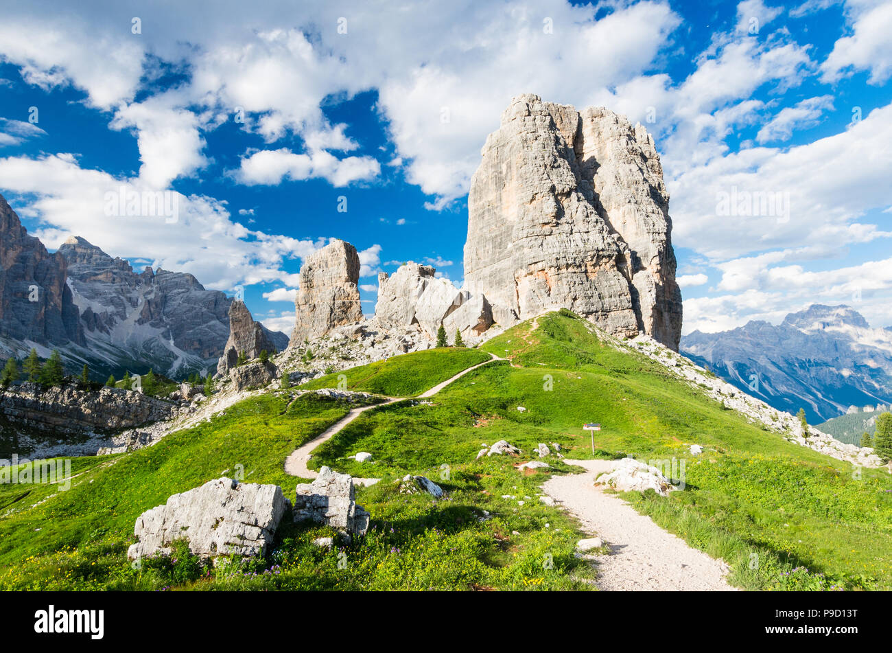 Cinque Torri, Dolomiti Alps, Italy. The Five Pillars in Dolomites mountains, Alto Adige, South Tyrol - Stock Image