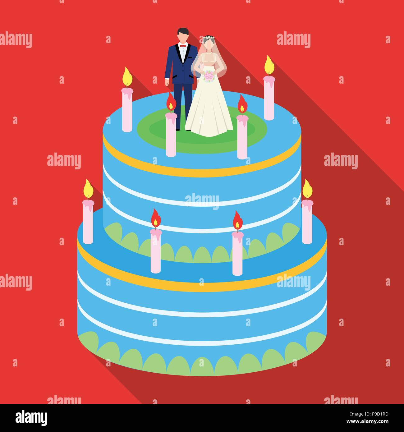 a wedding cake. Treat guests to the wedding.Wedding single icon in flat style vector symbol stock web illustration. - Stock Vector
