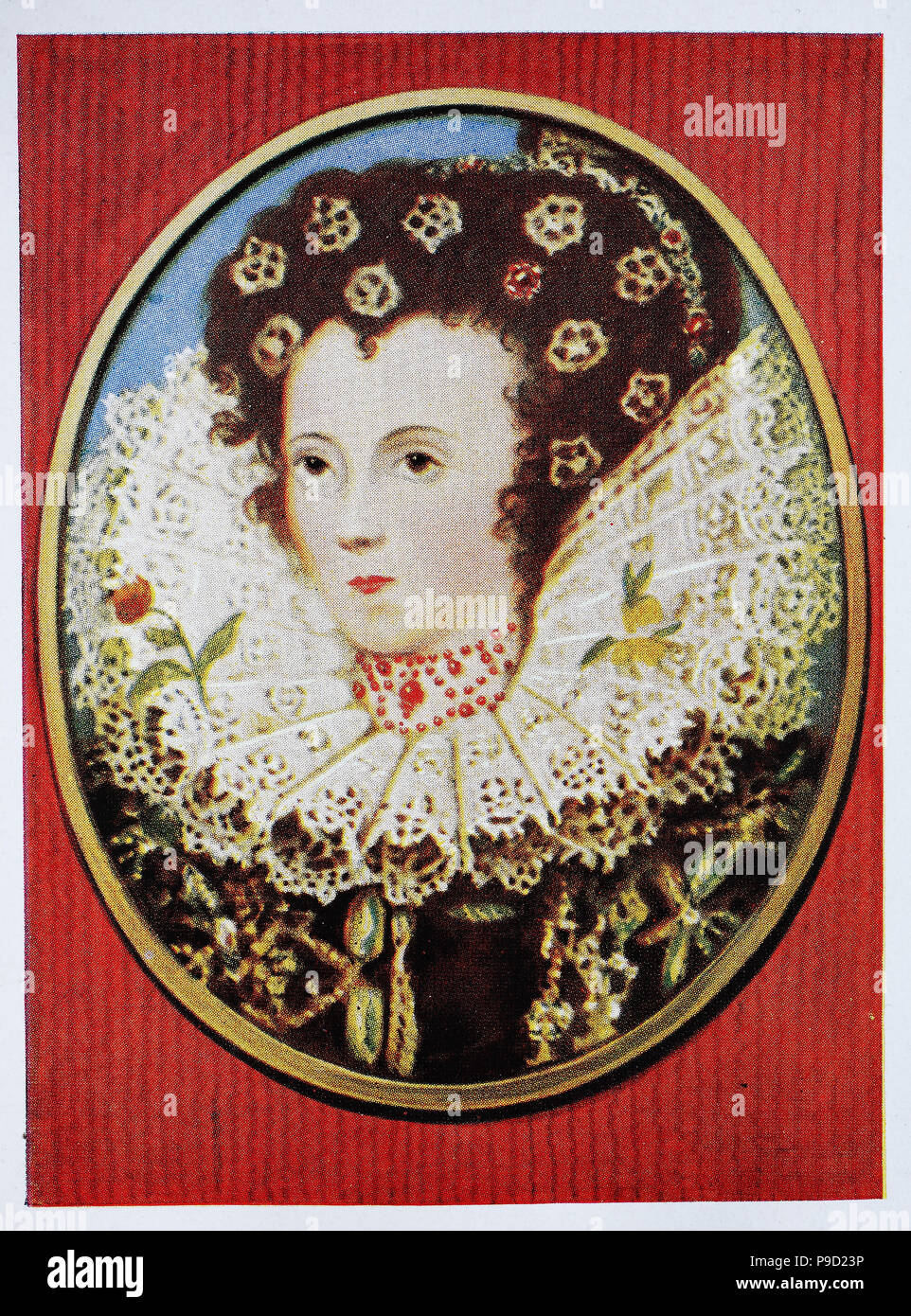 Elizabeth I, 7 September 1533 – 24 March 1603, was Queen of England and Ireland from 17 November 1558 until her death on 24 March 1603, digital improved reproduction of an original print from the year 1900 - Stock Image