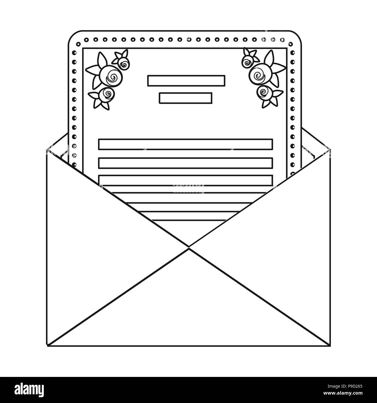 envelope with invitation card icon in outline style isolated on