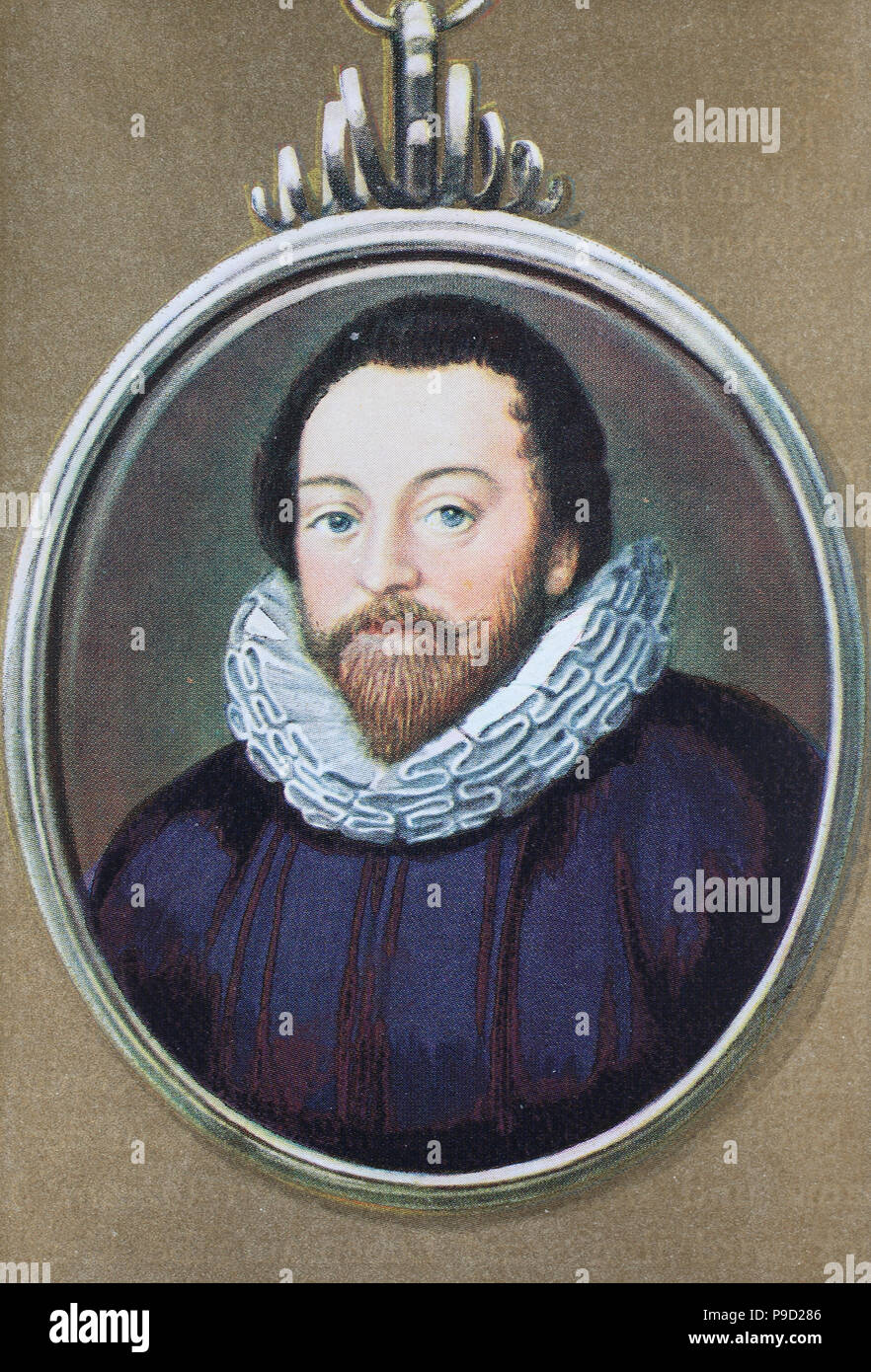 Sir Francis Drak, 1540 – 28 January 1596 was an English sea captain, privateer, slave trader, naval officer and explorer of the Elizabethan era, digital improved reproduction of an original print from the year 1900 - Stock Image