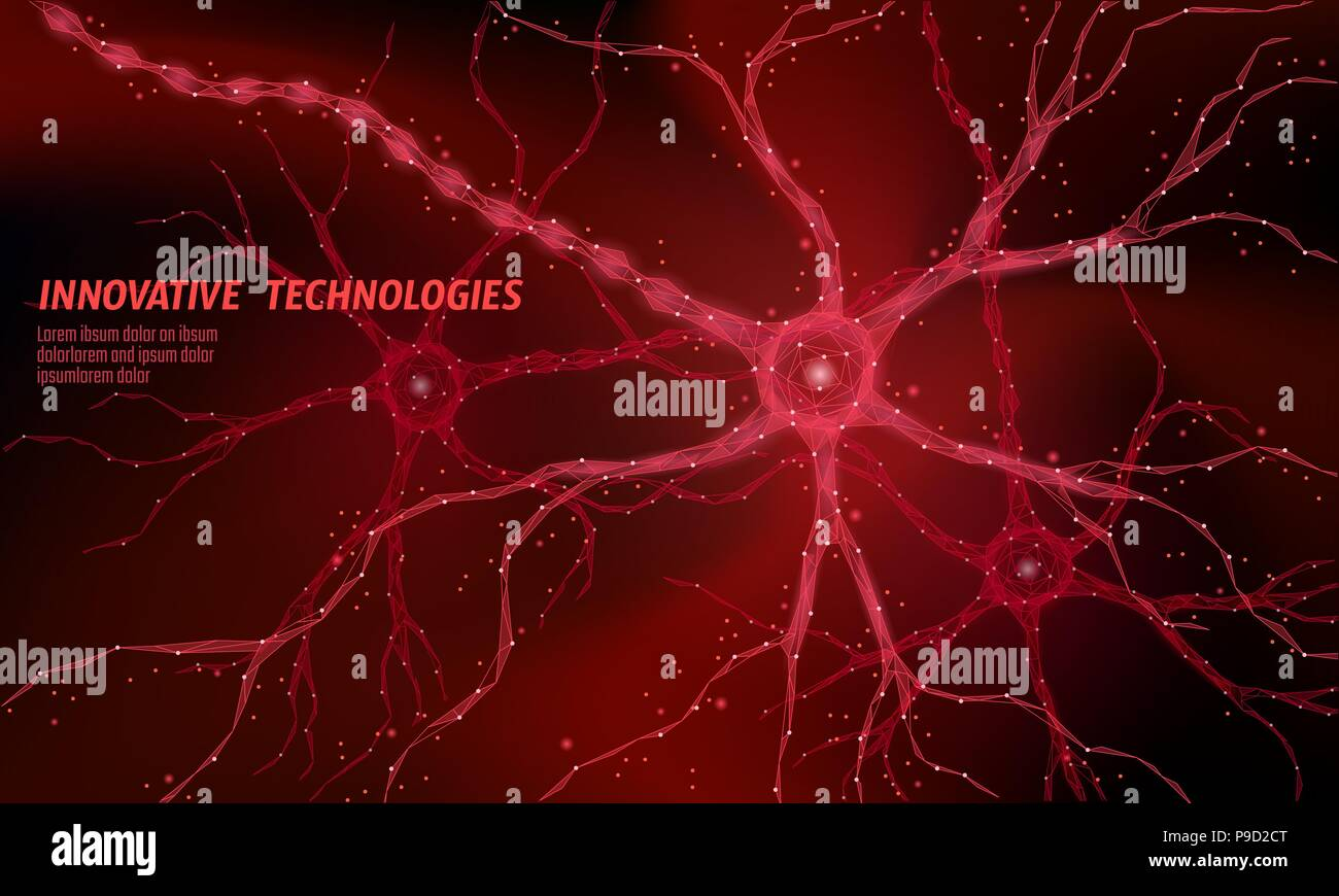 Human neuron low poly anatomy concept. Artificial neural network technology science medicine cloud computing. AI 3D abstract biology system. Polygonal red glowing vector illustration - Stock Image