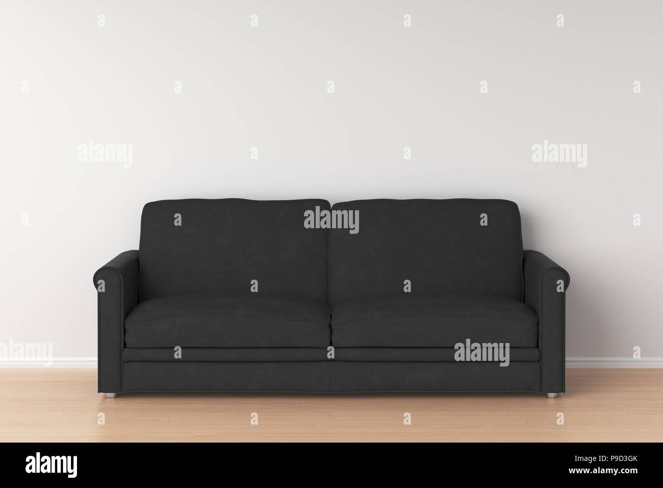 Black suede leather sofa in interior. 3d render Stock Photo ...