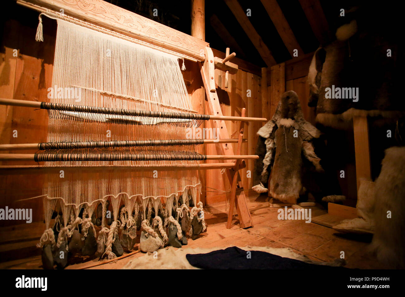 Greenland, Tunulliarfik, Qassiarsuk. Recreated Norse style loom from Erik the Red's Brattahlid estate. - Stock Image
