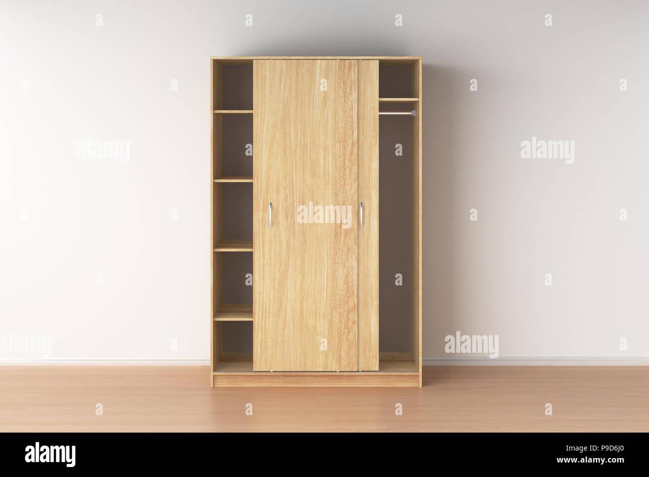 Empty Wooden Wardrobe With Sliding Doors In Interior 3d Render