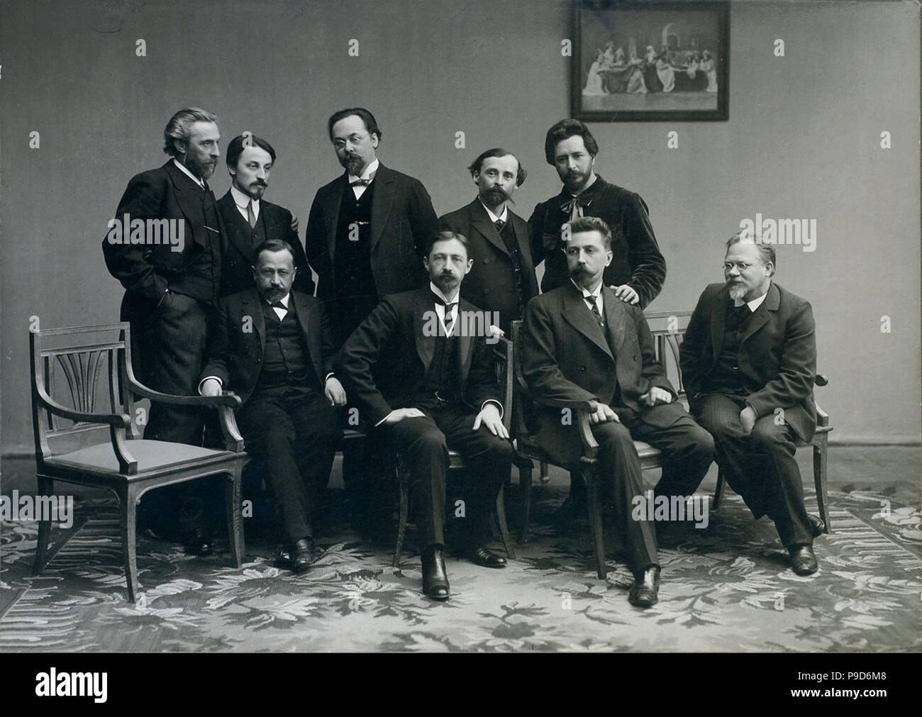 Members of the Literary Group 'Sreda' ('Wednesday'). Museum: Institut of Russian Literature IRLI (Pushkin-House), St Petersburg. - Stock Image
