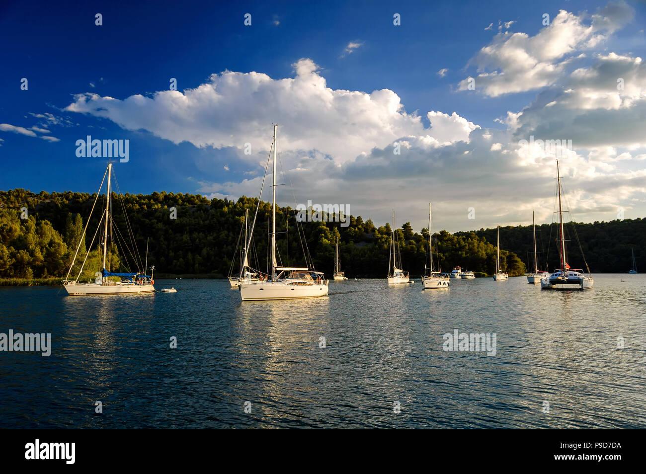 Amazing dock near Sibenik city of Croatia. Northern part of Dalmatia. Sunny detail of Scradin town. Part of National park Krka. Beautiful summer seasc Stock Photo