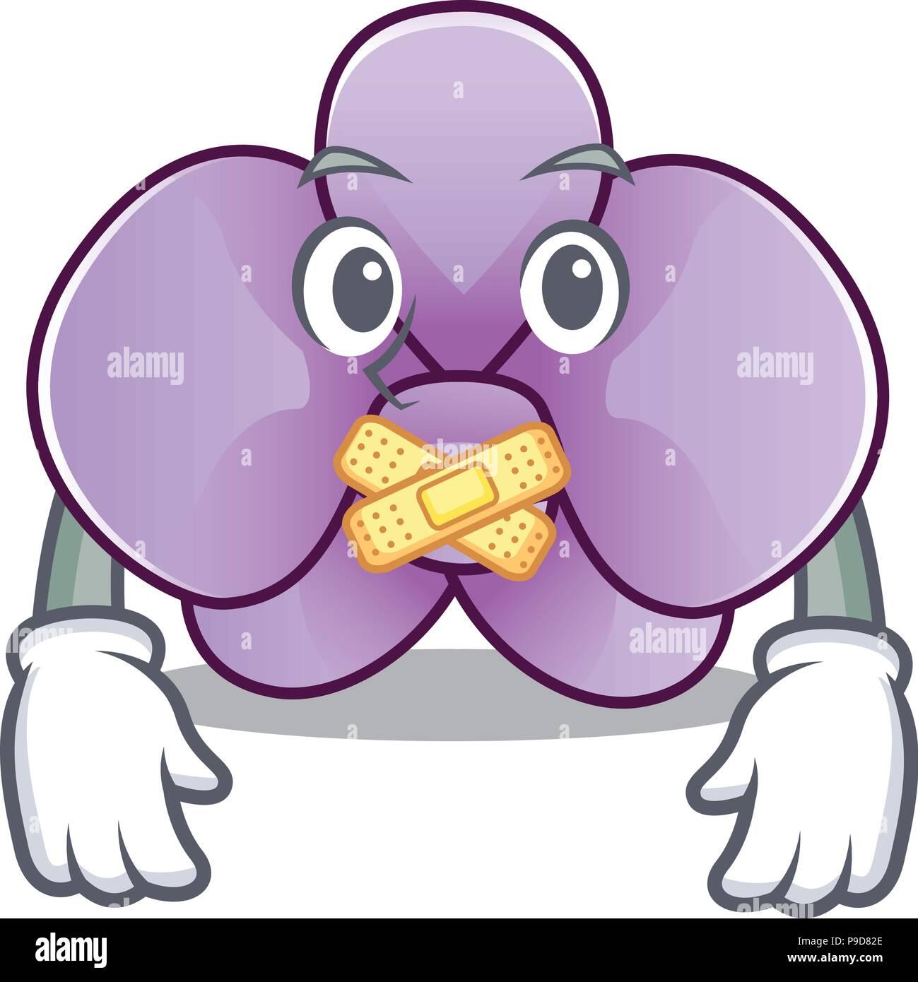 Silent Orchid Flower Mascot Cartoon