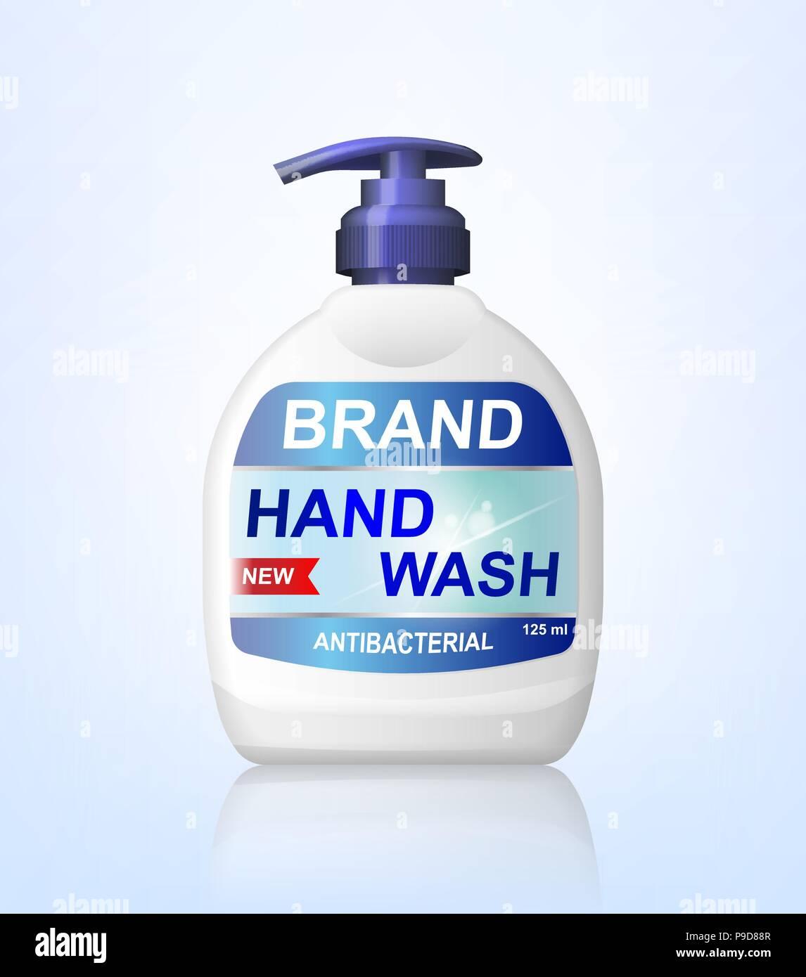 Antibacterial hand wash gel ads, dispenser bottle mockup isolated. 3d realistic Soap antiseptic bottle. Hygiene product package design. vector illustration - Stock Image