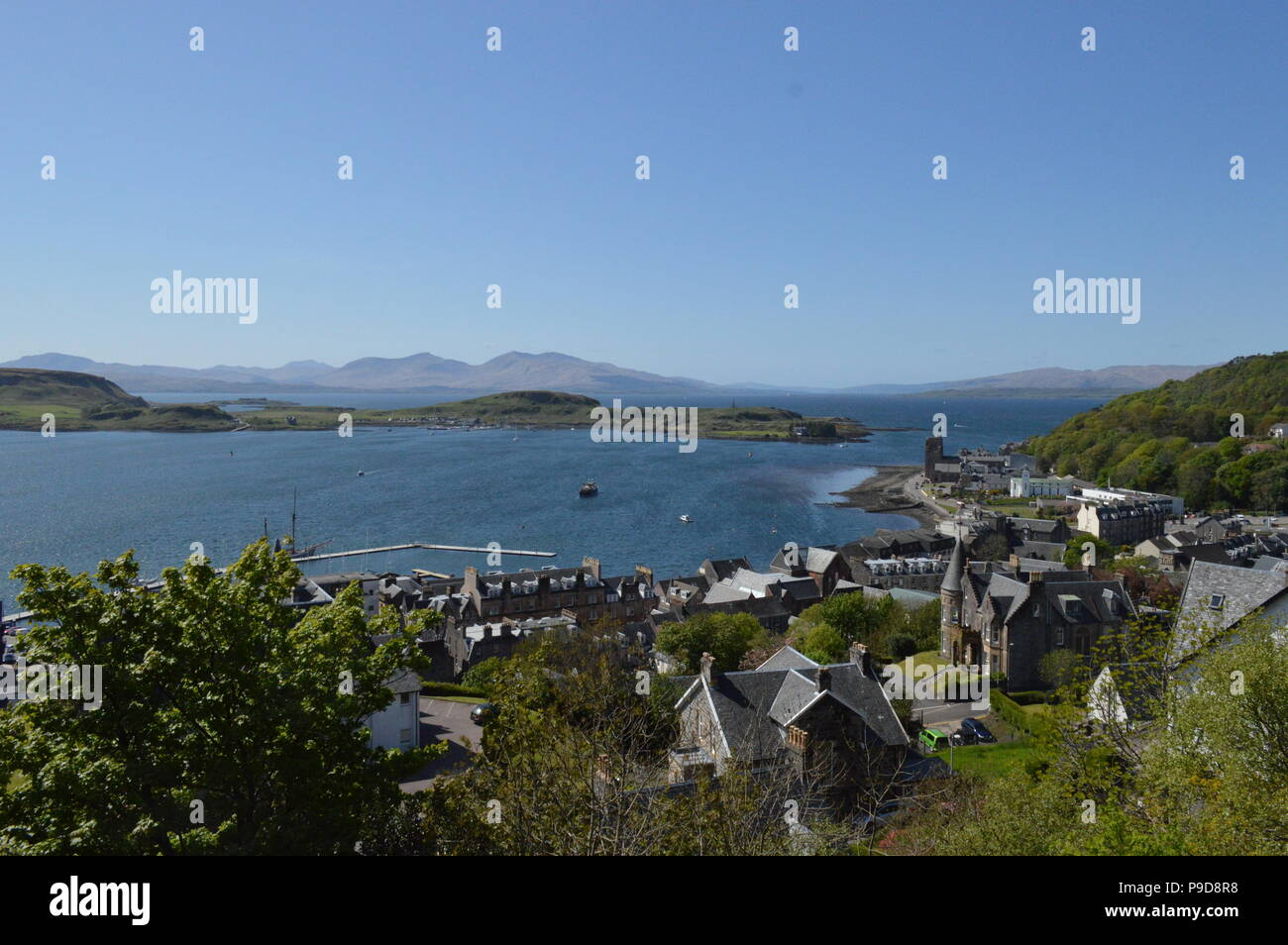 View of Isles of Mull and Kerrera from McCaig's Tower, Oban, Scotland. - Stock Image