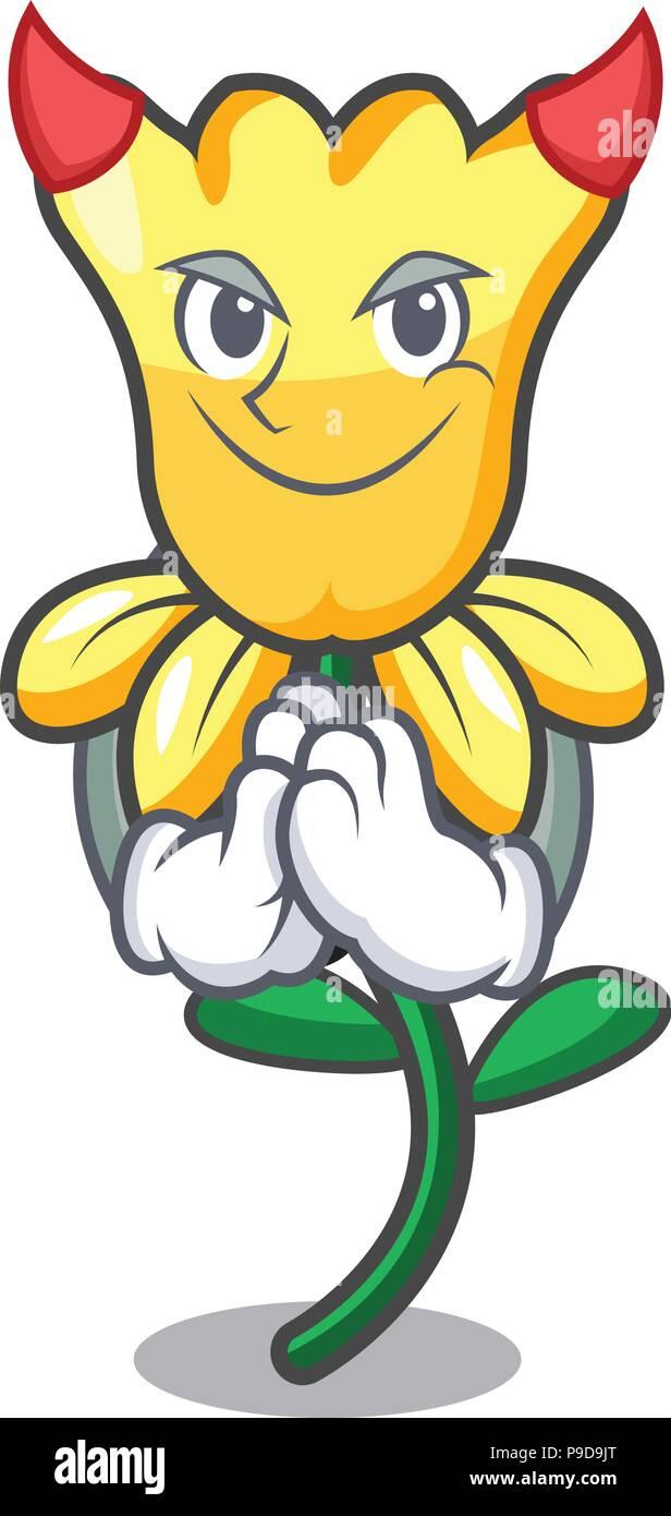 Devil daffodil flower mascot cartoon Stock Vector
