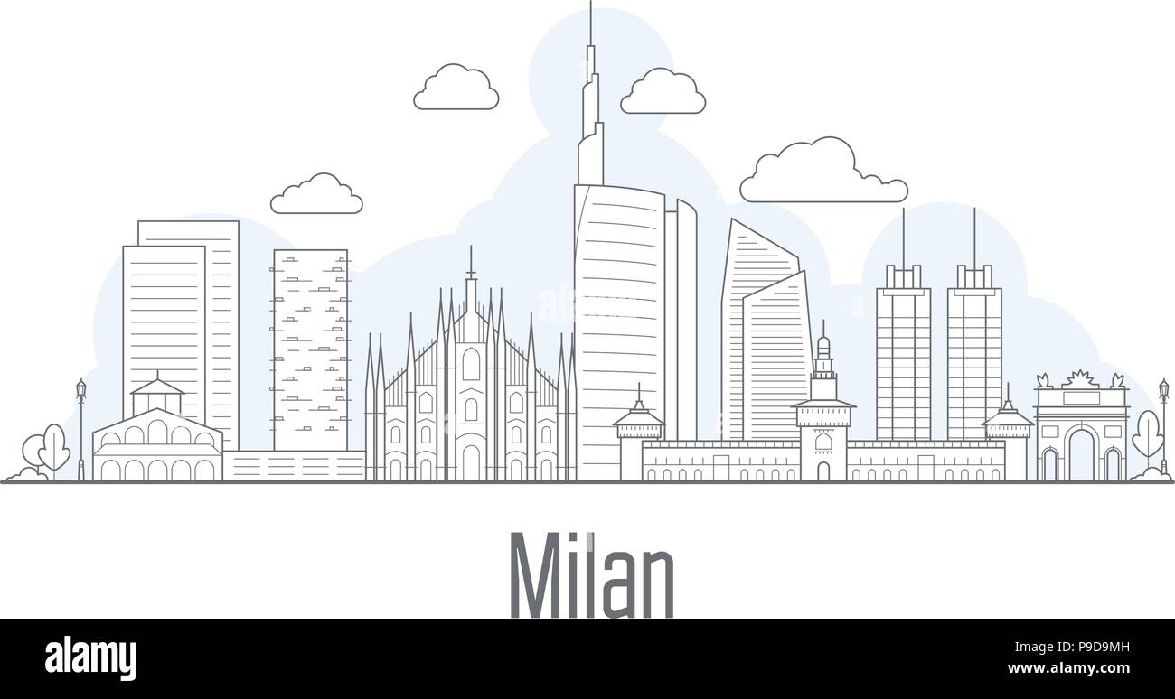 Milan city skyline - cityscape with landmarks in liner style - Stock Vector