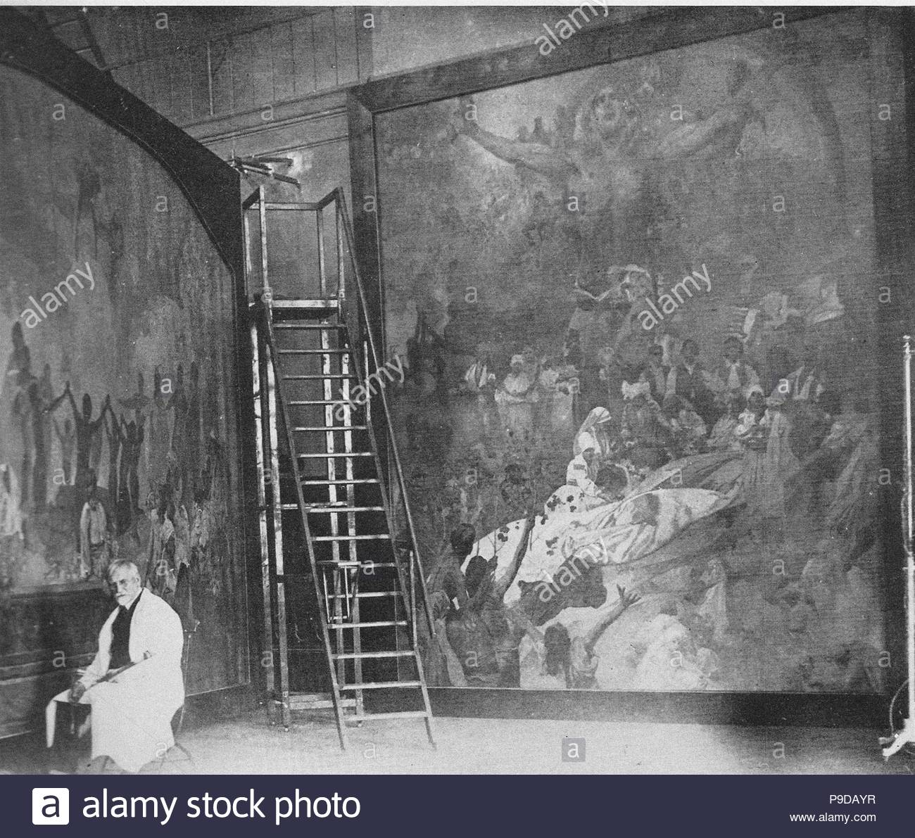 Alfons Mucha working on the Slav Epic at the Castle Zbiroh. Museum: A. Mucha Museum, Prague. - Stock Image