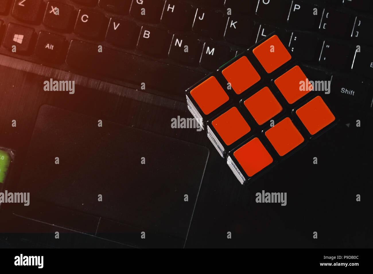 Problem Solving Cube Near Laptop Keyboard Stock Photo 212350332 Alamy