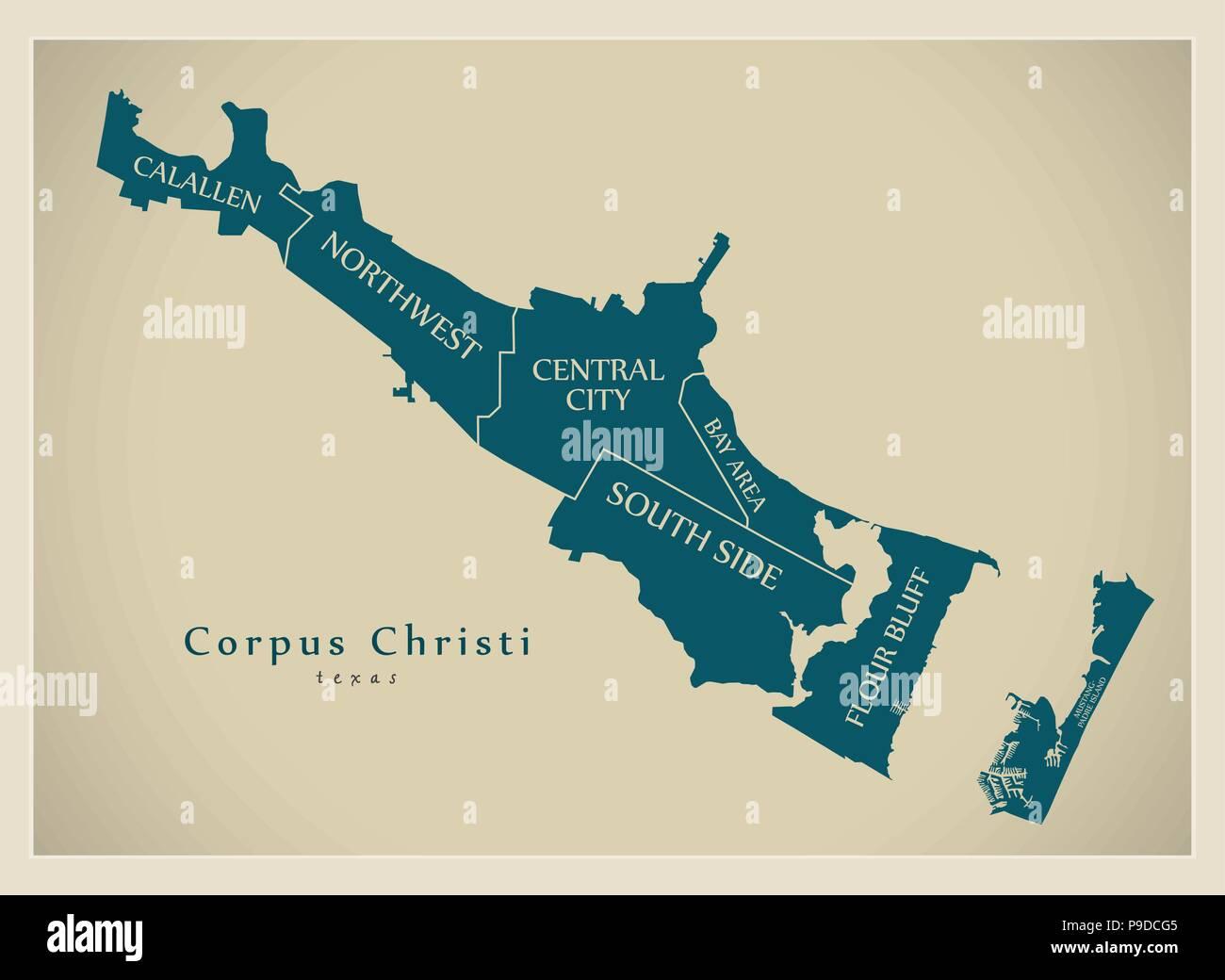 Modern City Map - Corpus Christi Texas city of the USA with neighborhoods and titles - Stock Vector