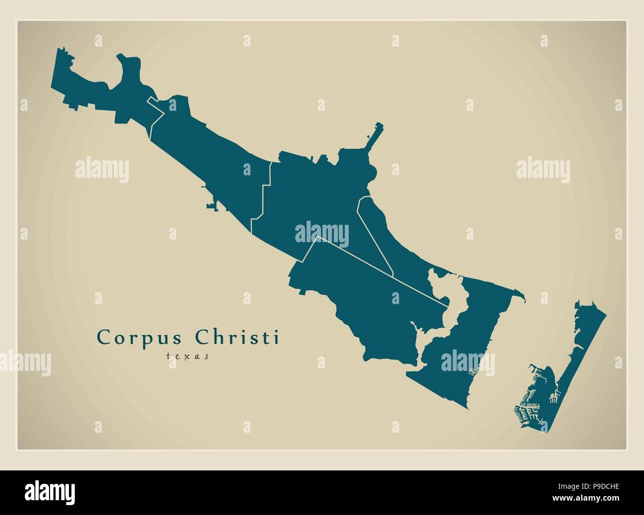 Modern City Map - Corpus Christi Texas city of the USA with neighborhoods - Stock Vector
